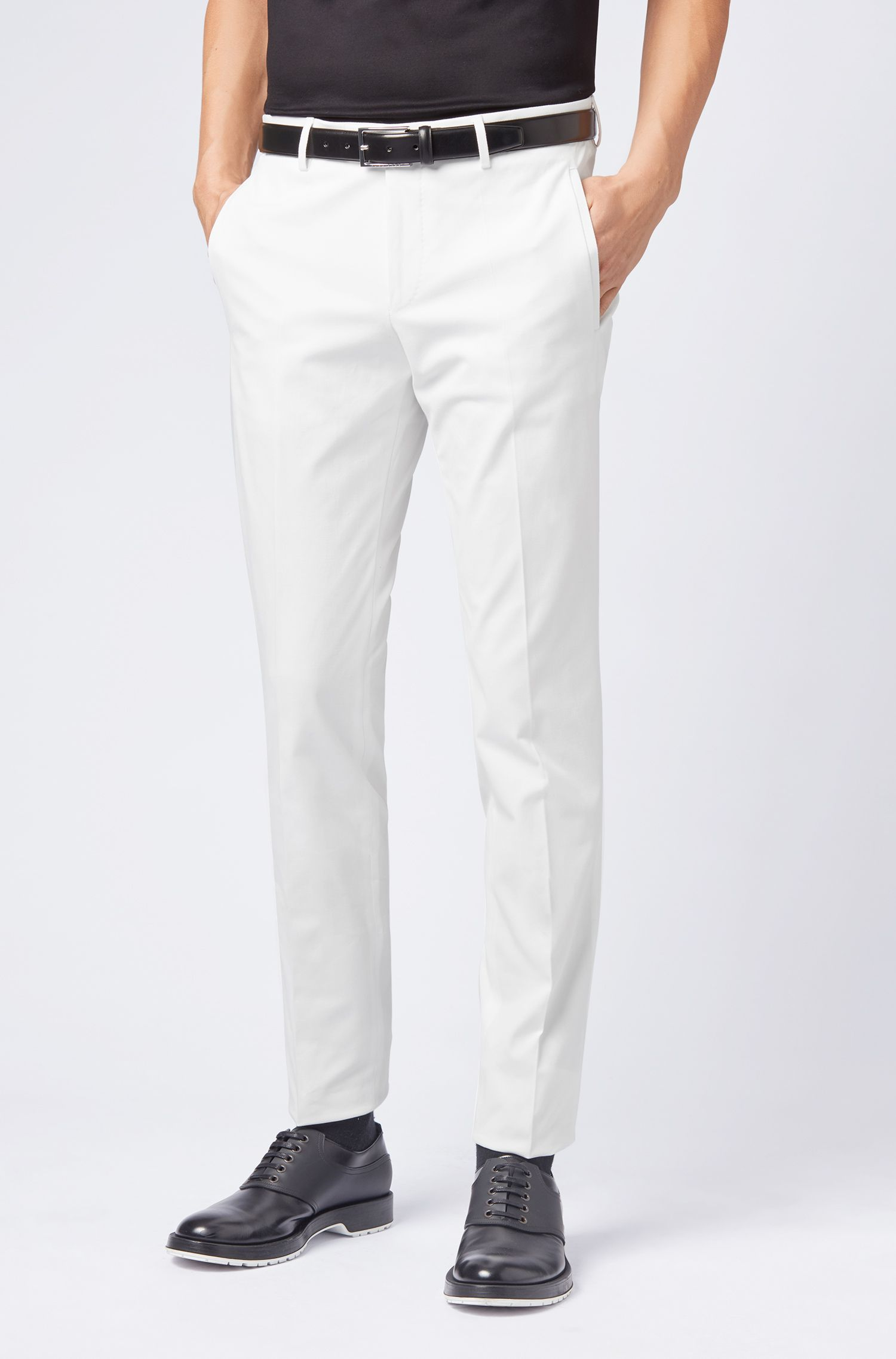 Tailored slim-fit trousers in stretch cotton, White