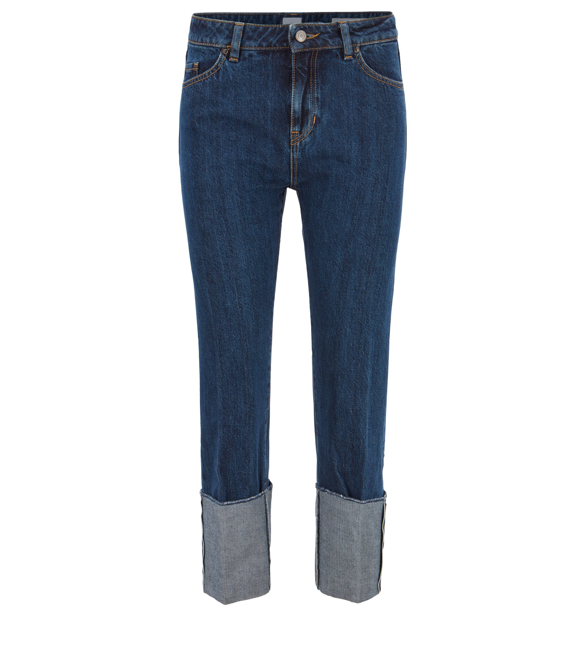 Boyfriend jeans in Italian selvedge denim, Blau