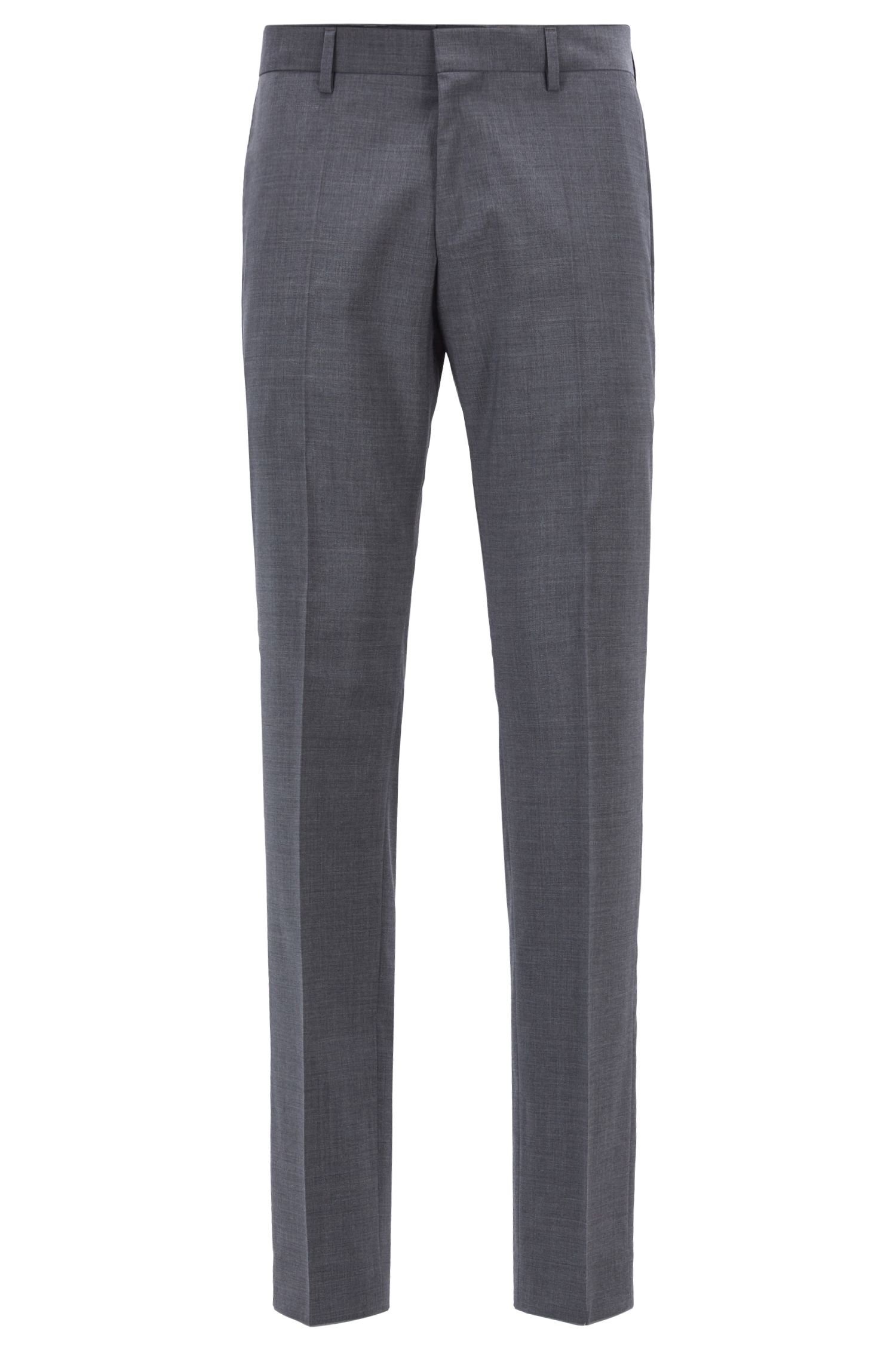 Slim-fit trousers in virgin wool and cashmere, Grey