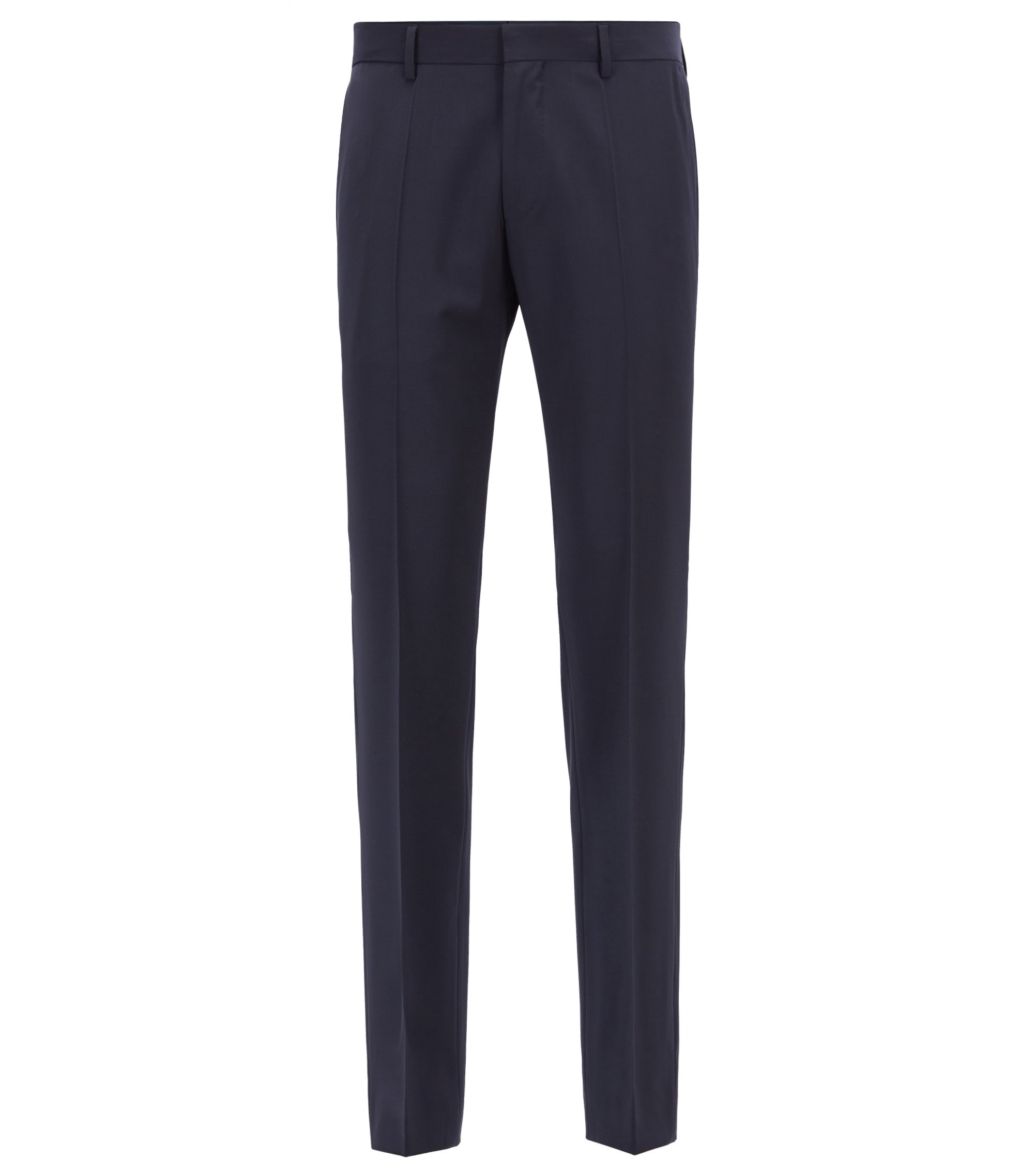 Slim-fit trousers in virgin wool and cashmere, Dark Blue