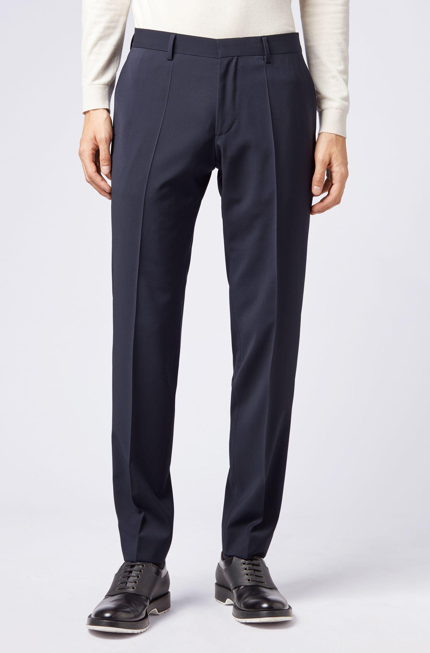 Pantalon Slim Fit en laine vierge et cachemire, Bleu foncé