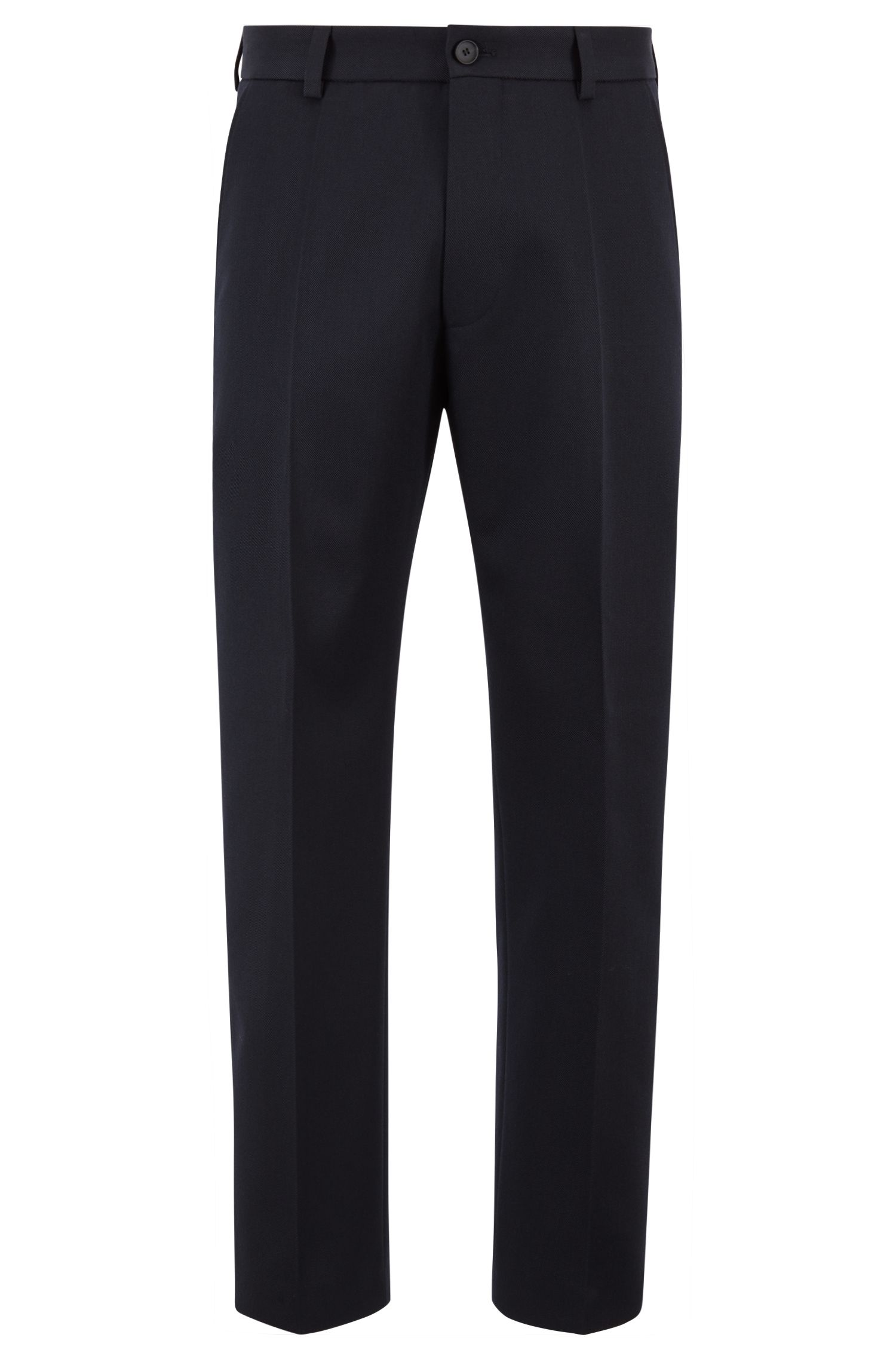 Relaxed-fit cropped trousers in virgin-wool twill, Dark Blue