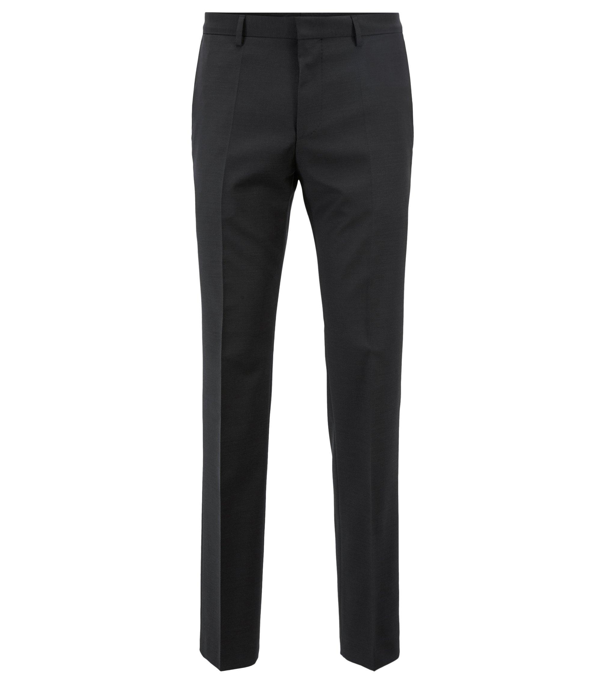 Slim-fit broek van scheerwol met alcantarabiezen, Zwart