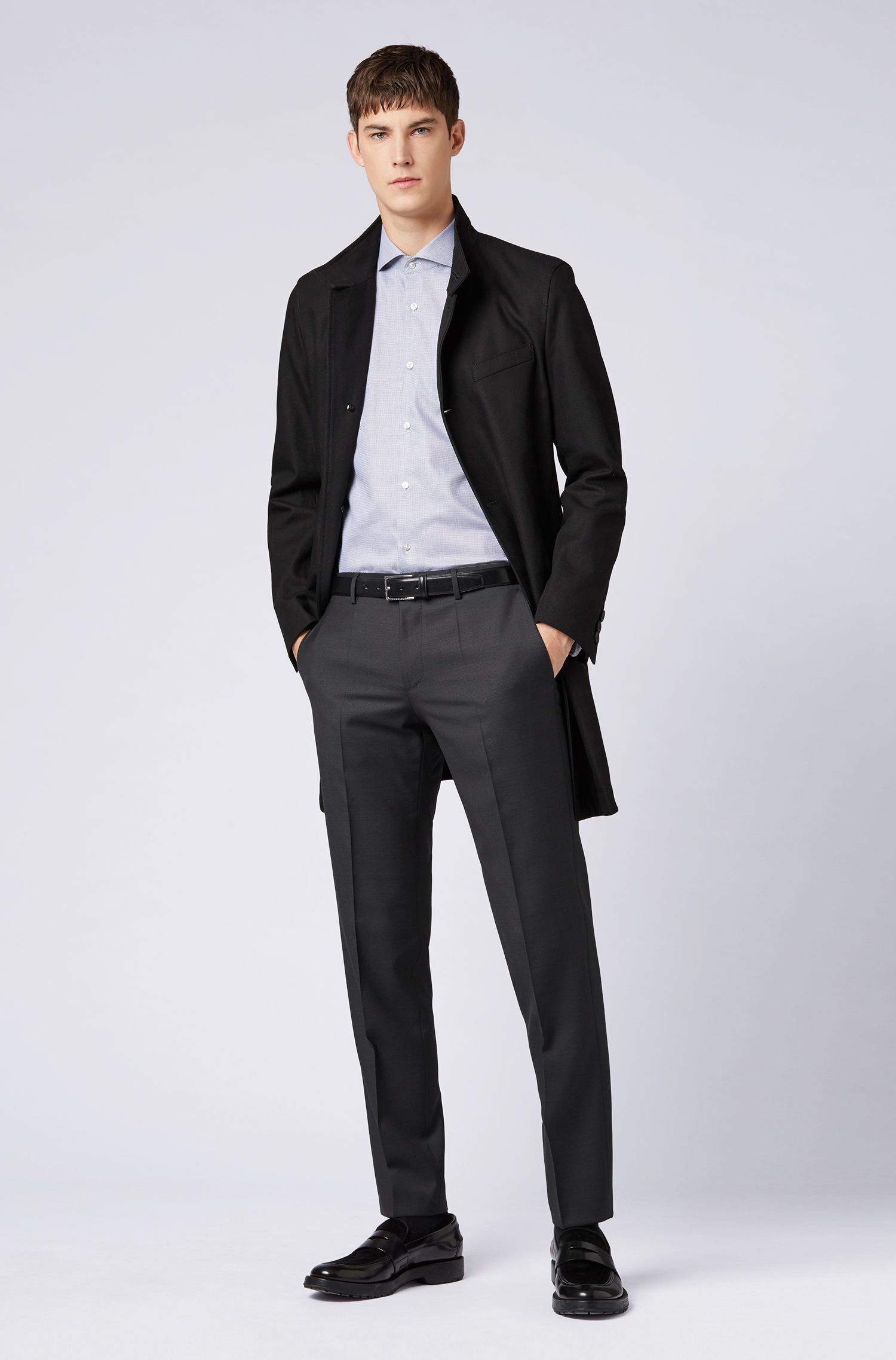 Pantaloni slim fit in lana vergine con profilature in alcantara, Nero
