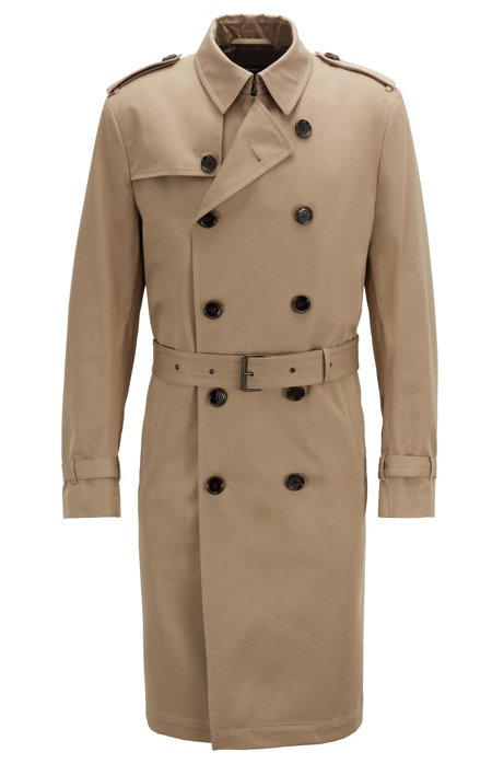 27cd9fe4802fb Double-breasted trench coat in water-repellent cotton twill, Light Beige