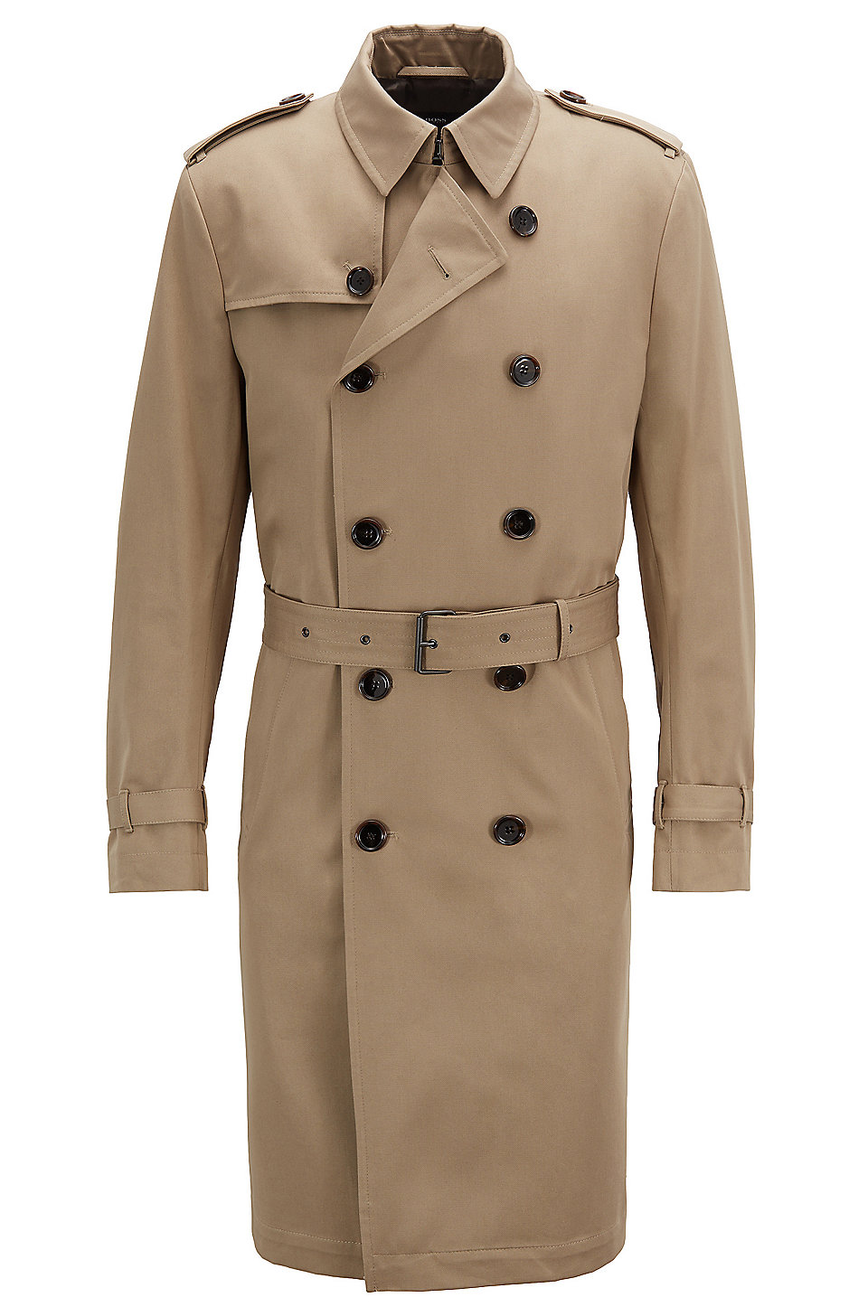 b91e29a23e041 BOSS - Double-breasted trench coat in water-repellent cotton twill