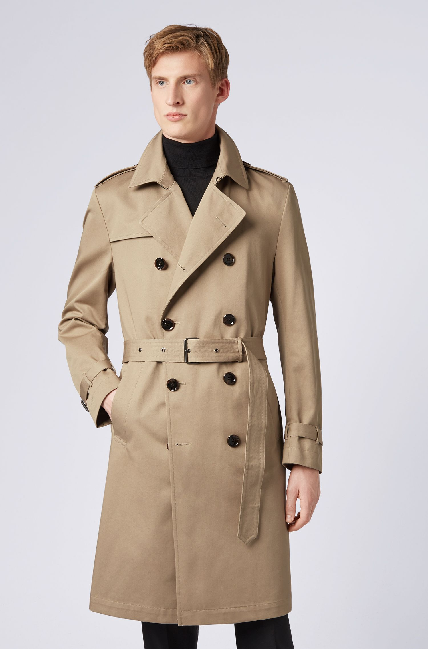 Double-breasted trench coat in water-repellent cotton twill, Light Beige