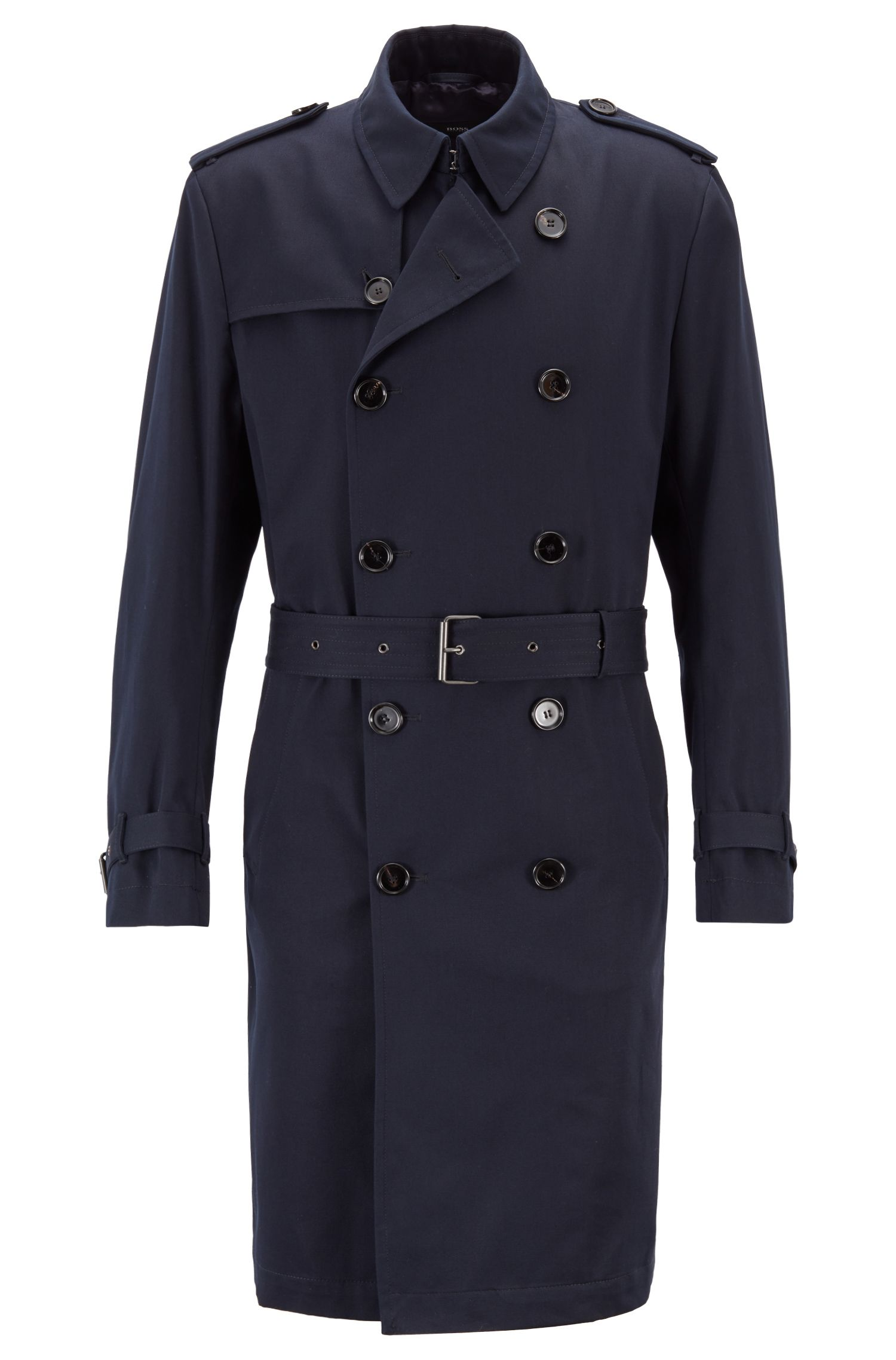 Double-breasted trench coat in water-repellent cotton twill, Blue