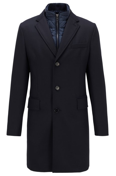 Cappotto slim fit con pettorina interna rimovibile, Blu