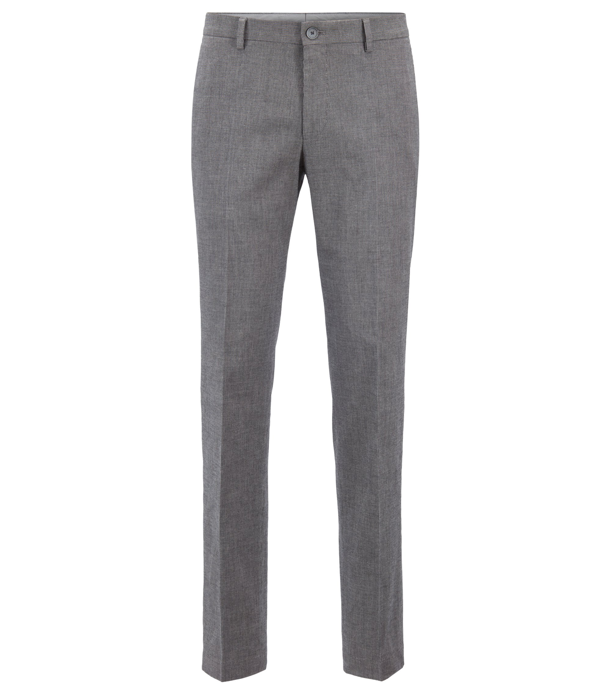 Chino Slim Fit en coton stretch chiné, Argent