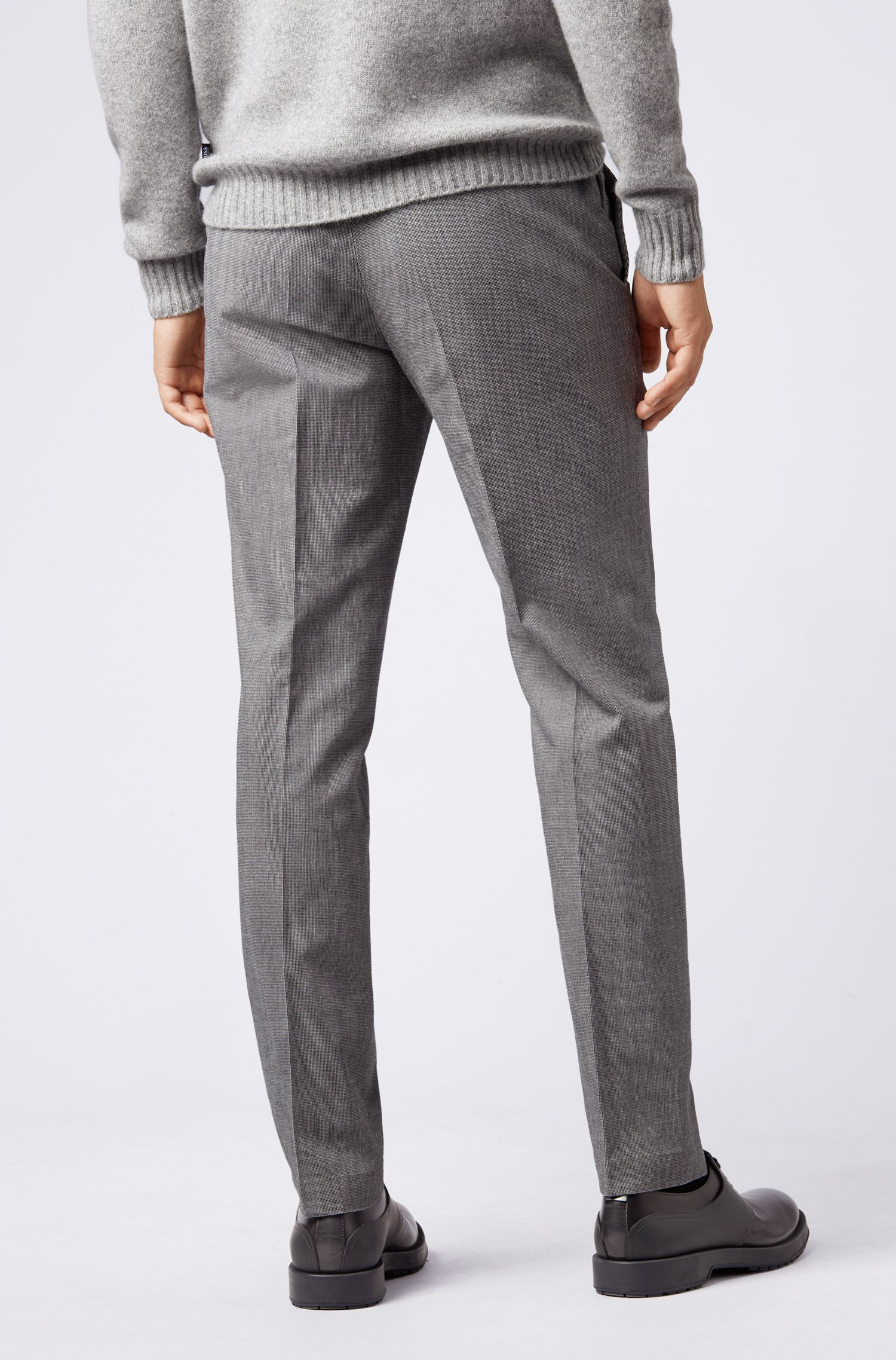 Slim-Fit Chino aus melierter Stretch-Baumwolle, Silber