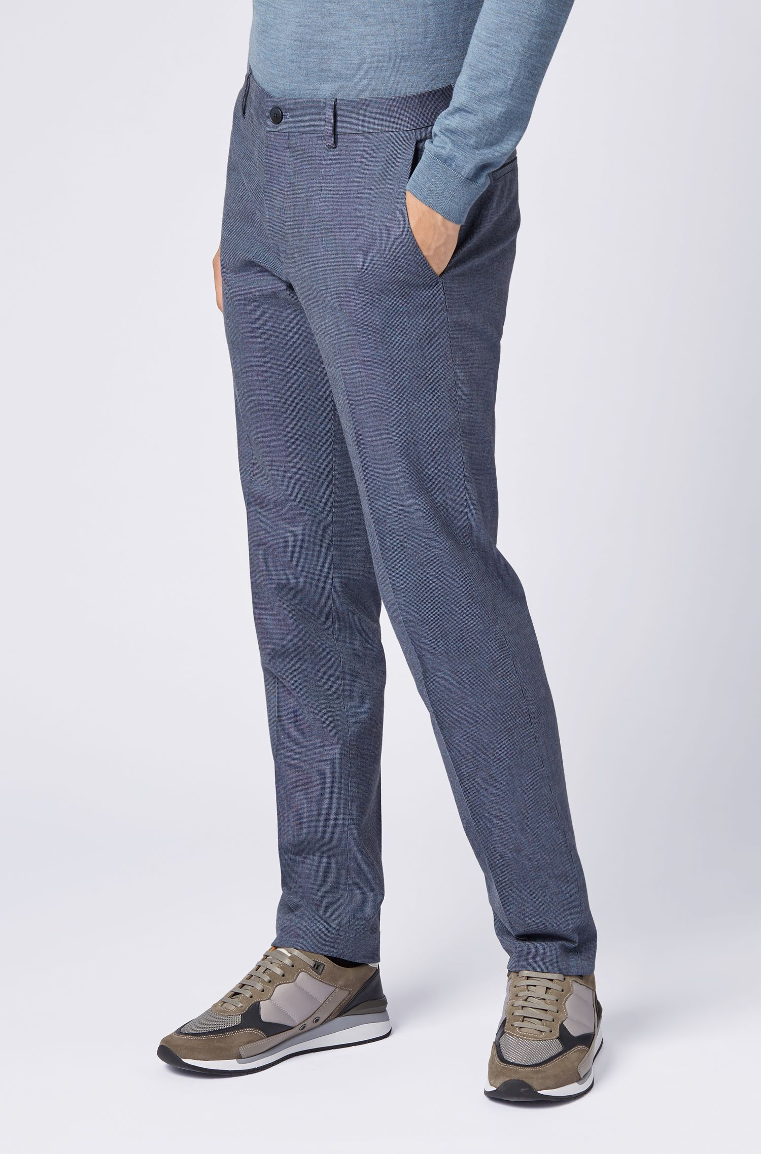 Chino Slim Fit en coton stretch chiné, Bleu vif