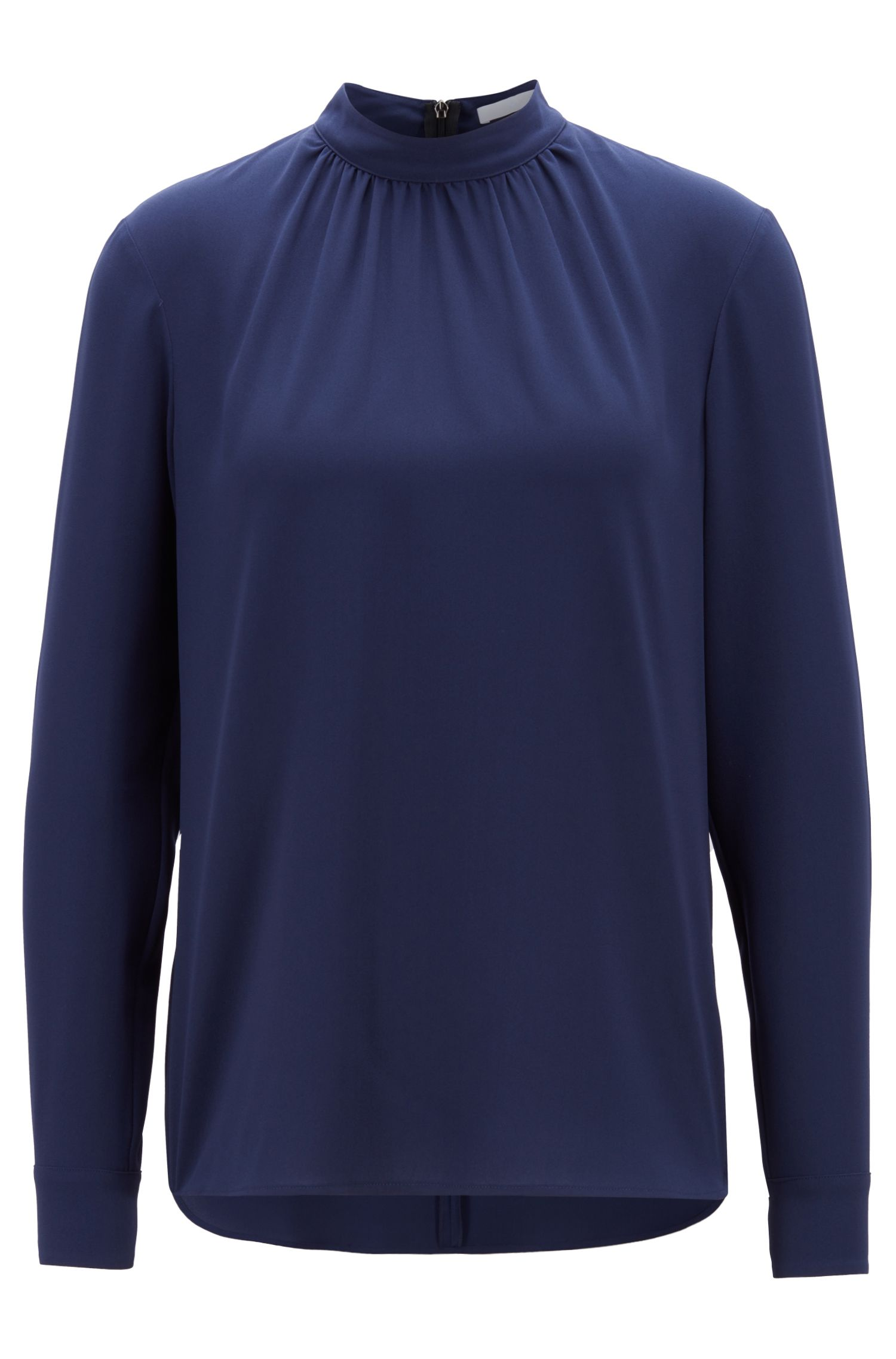 Crepe blouse with gathered neckline, Dark Blue