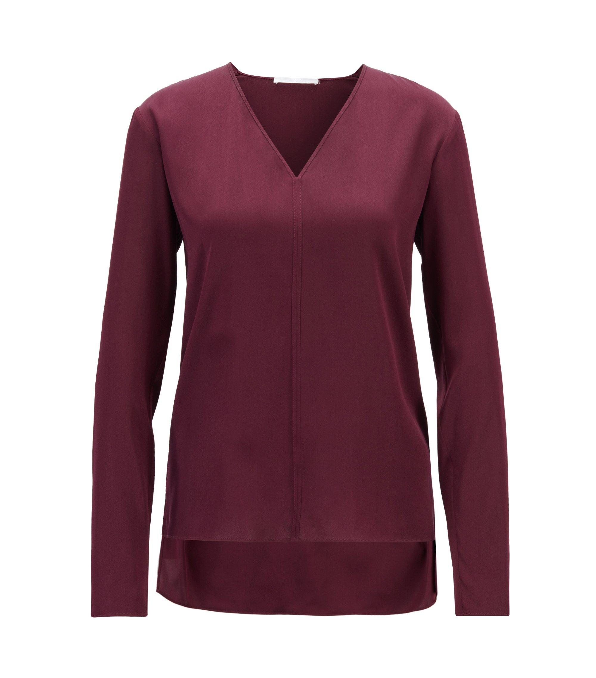 Bluse aus Stretch-Seide mit V-Ausschnitt und hinten längerem Saum, Dunkelrosa