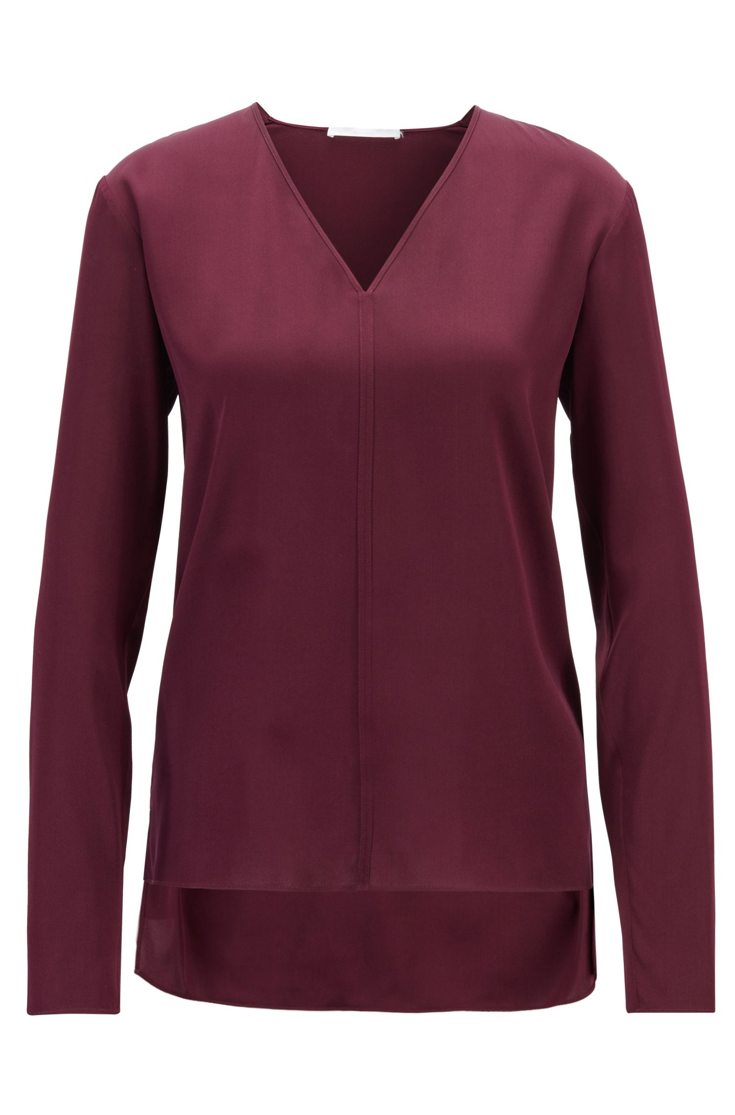 V-neck blouse in stretch silk with dropped back hem, Dark pink