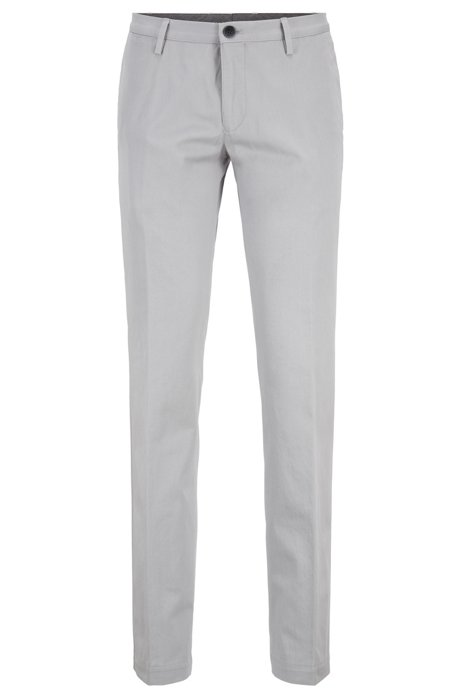 Pantalon Slim Fit en coton stretch teint en pièce, Gris chiné