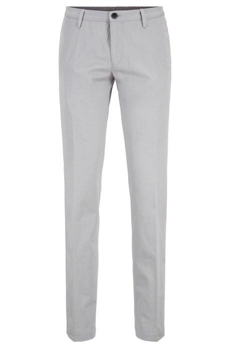 Pantalones slim fit de algodón elástico teñido en prenda, Gris claro