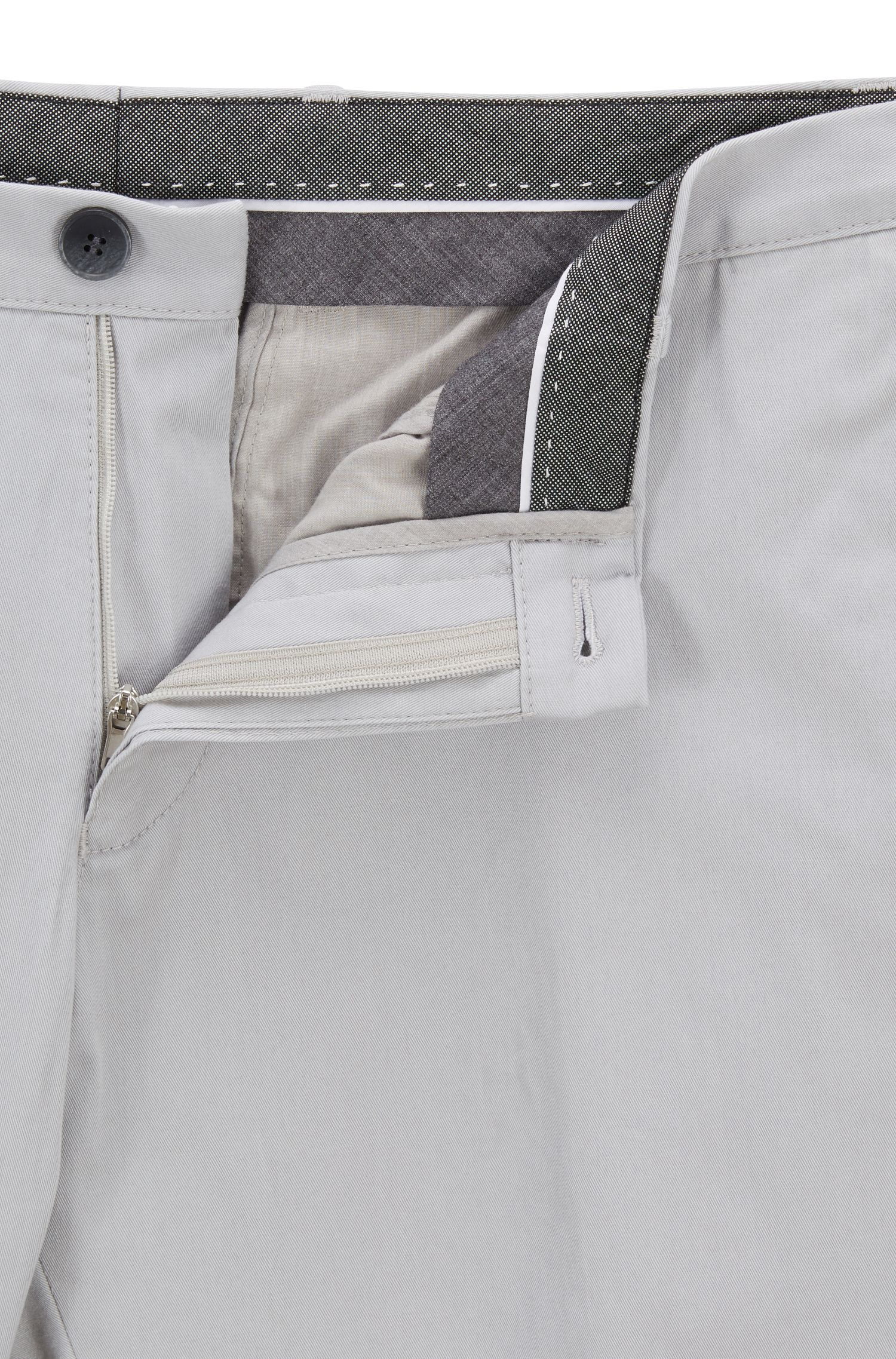 Slim-fit trousers in garment-dyed stretch cotton, Open Grey