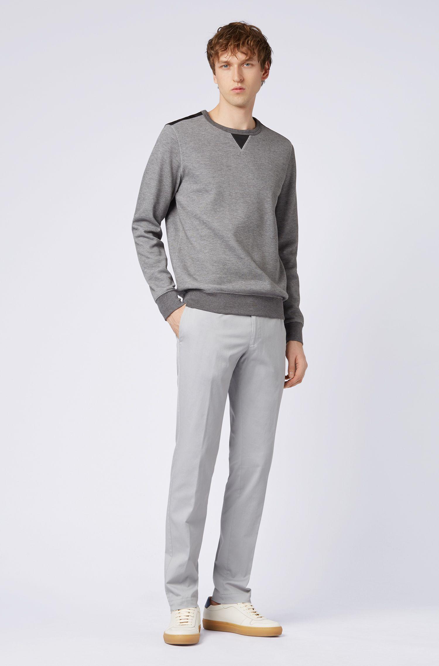 Pantalon Slim Fit en coton stretch teint en pièce, Gris chiné