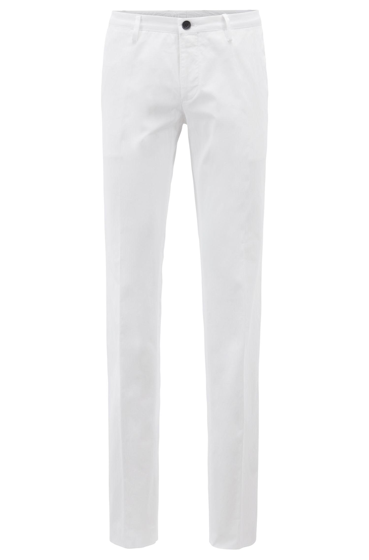 Pantaloni slim fit in cotone elasticizzato tinto in capo, Bianco