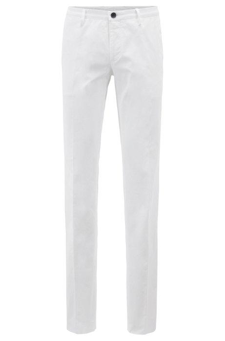 Pantalones slim fit de algodón elástico teñido en prenda, Blanco
