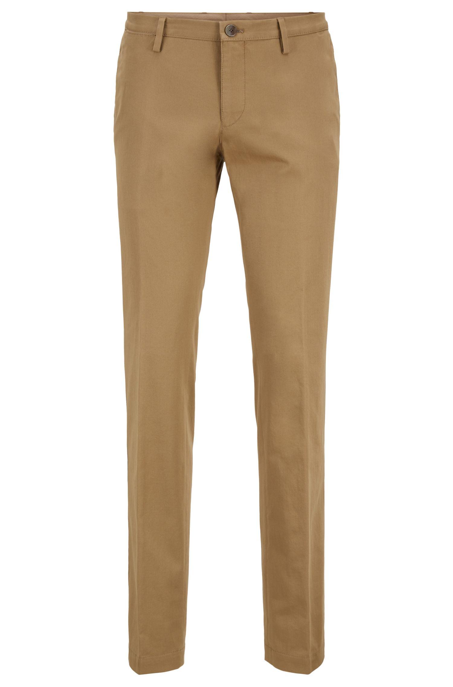 Pantalones slim fit de algodón elástico teñido en prenda, Beige