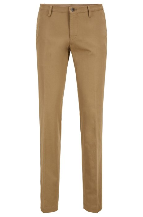 Pantaloni slim fit in cotone elasticizzato tinto in capo, Beige
