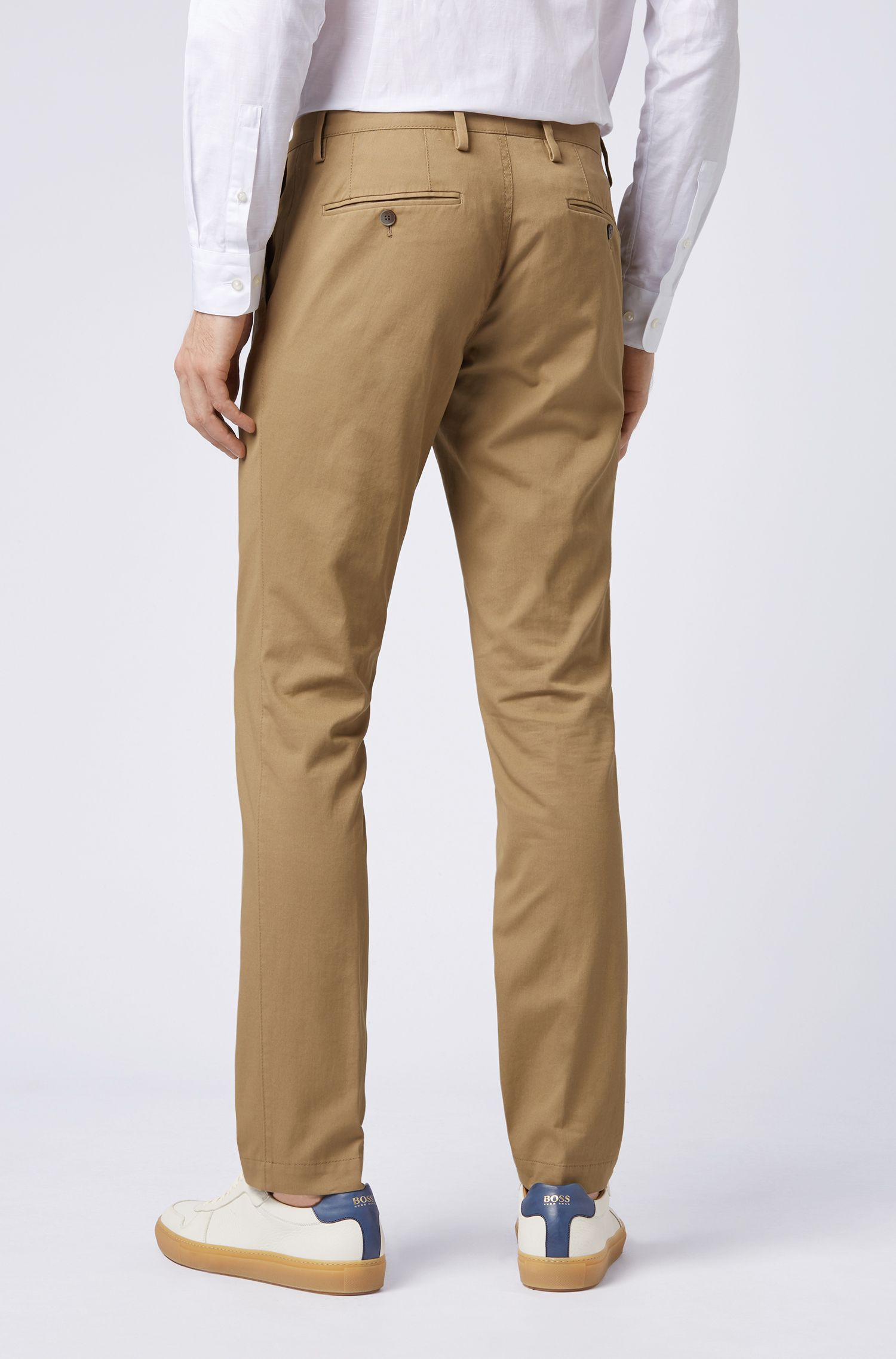 Slim-fit trousers in garment-dyed stretch cotton, Beige