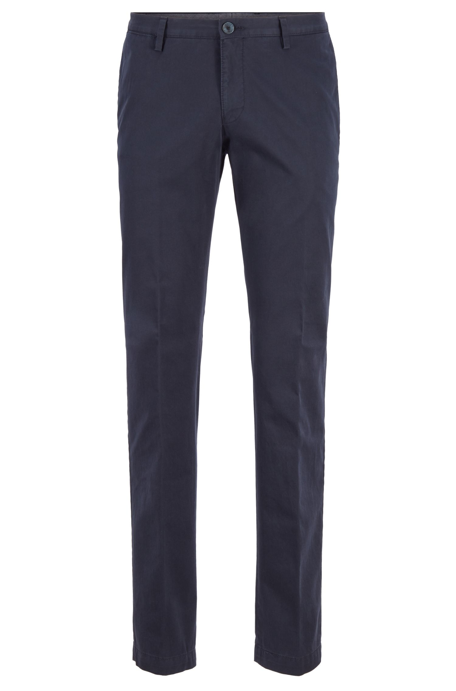 Pantalones slim fit de algodón elástico teñido en prenda, Azul oscuro
