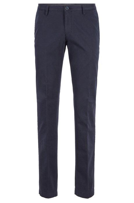 Pantaloni slim fit in cotone elasticizzato tinto in capo, Blu scuro