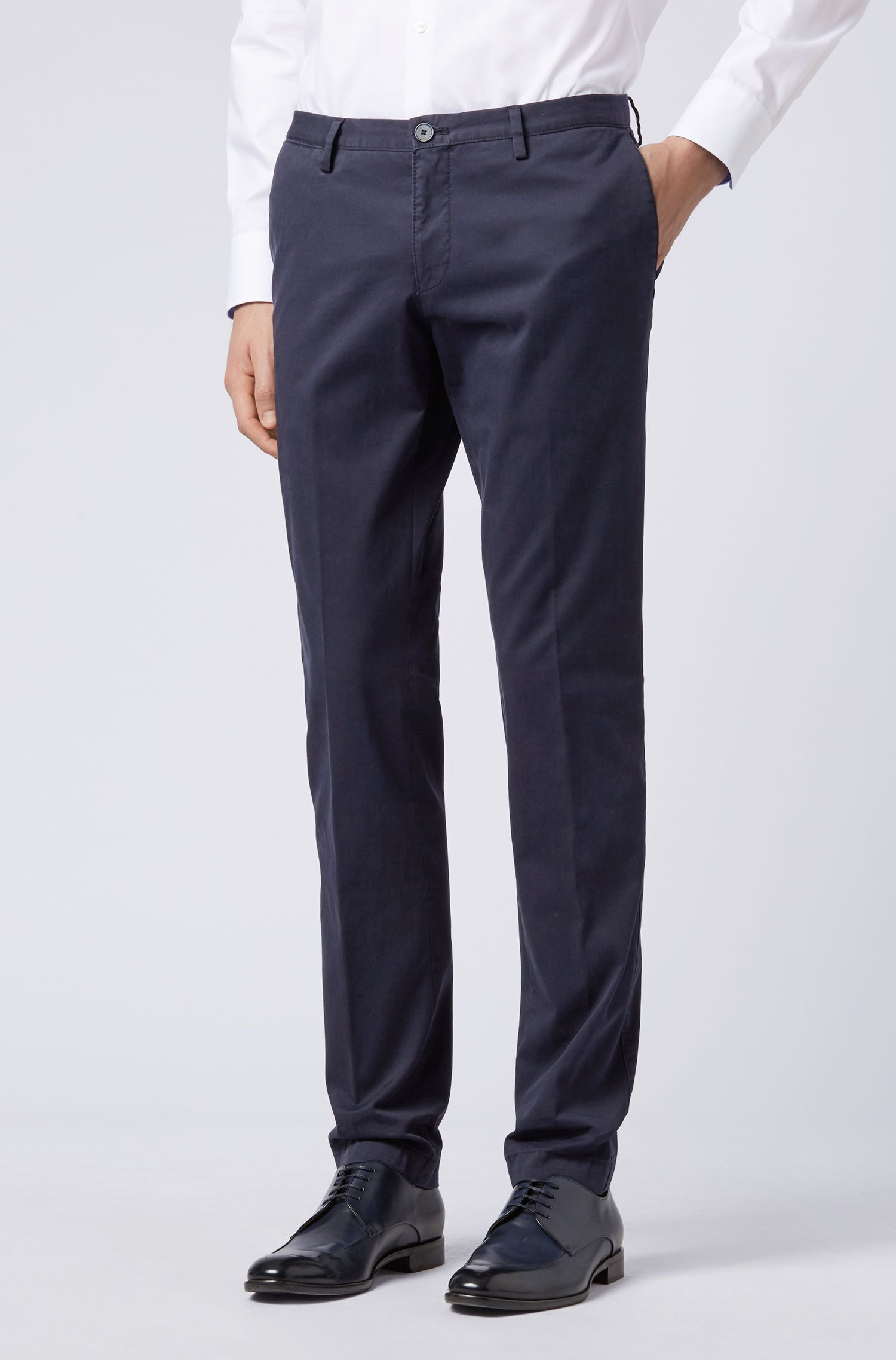Slim-fit trousers in garment-dyed stretch cotton, Dark Blue