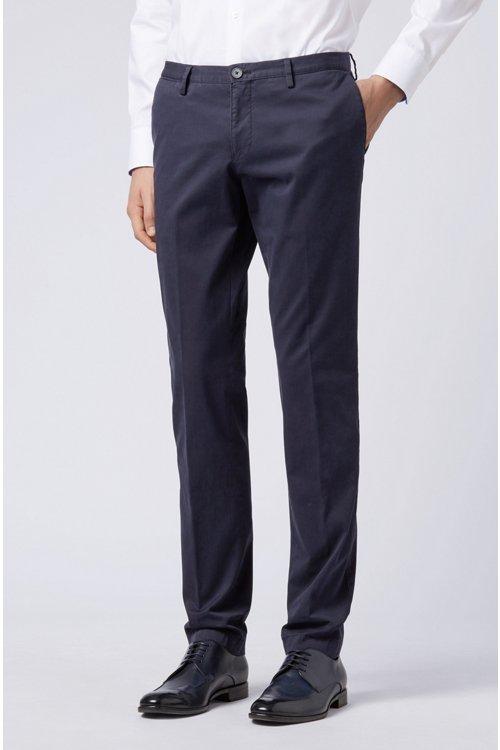 Hugo Boss - Stückgefärbte Slim-Fit Hose aus Stretch-Baumwolle - 3
