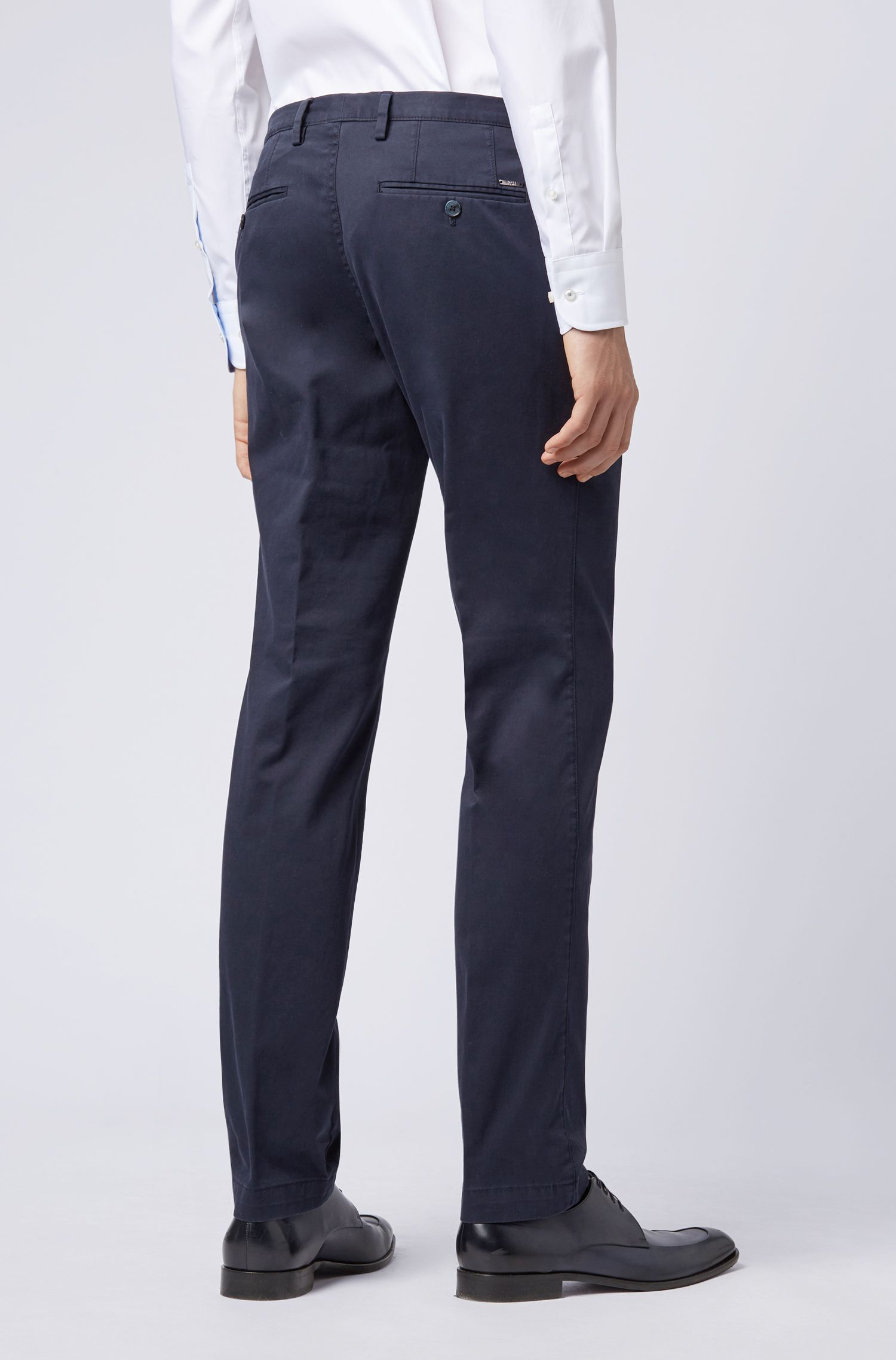 Hugo Boss - Slim-fit trousers in garment-dyed stretch cotton - 6