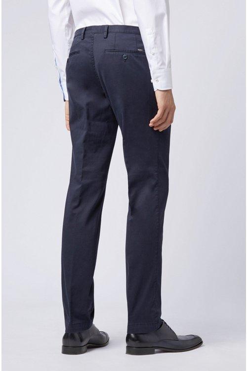 Hugo Boss - Stückgefärbte Slim-Fit Hose aus Stretch-Baumwolle - 6