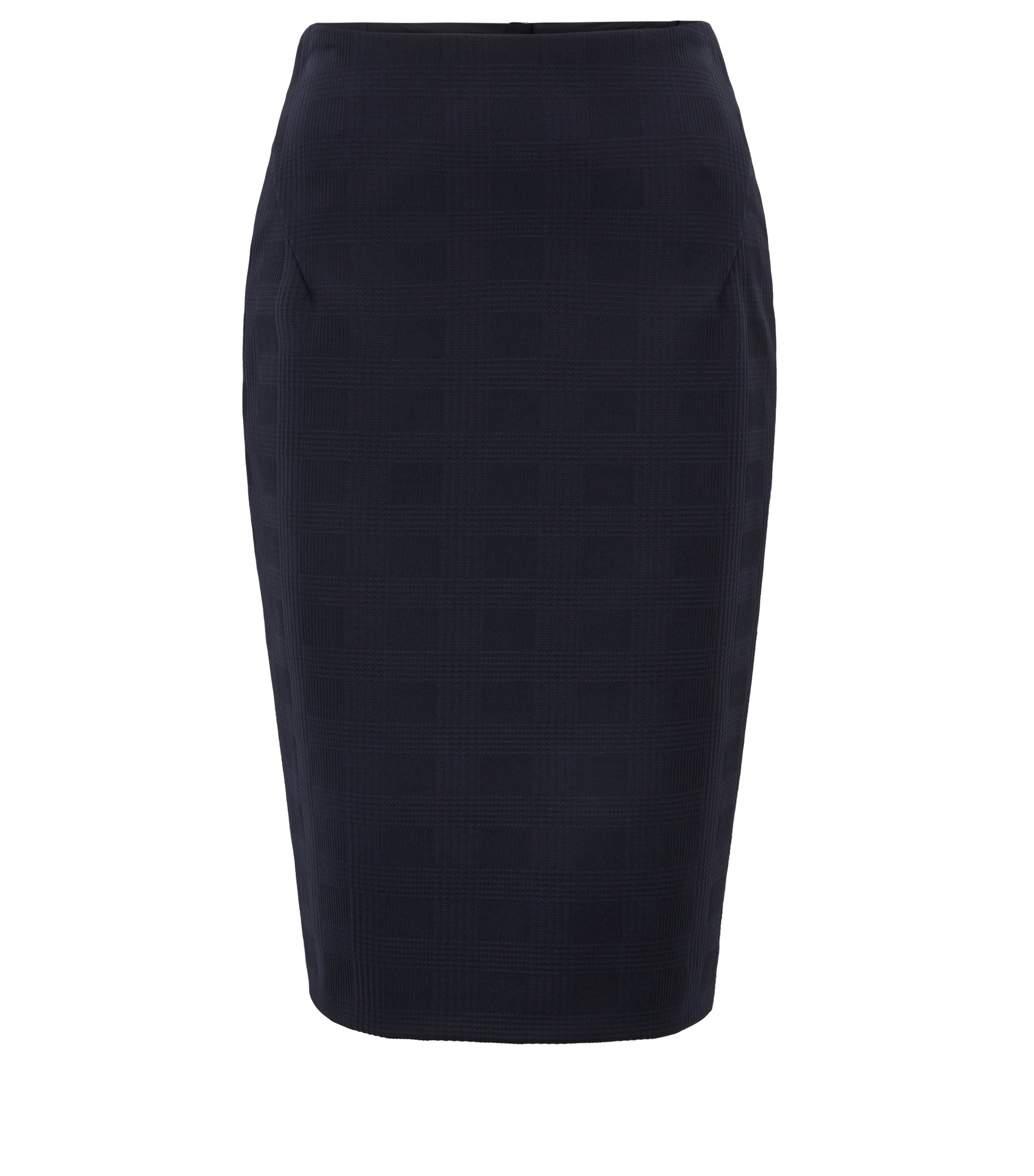 Stretch-jersey pencil skirt with two-way rear zip, Dark Blue