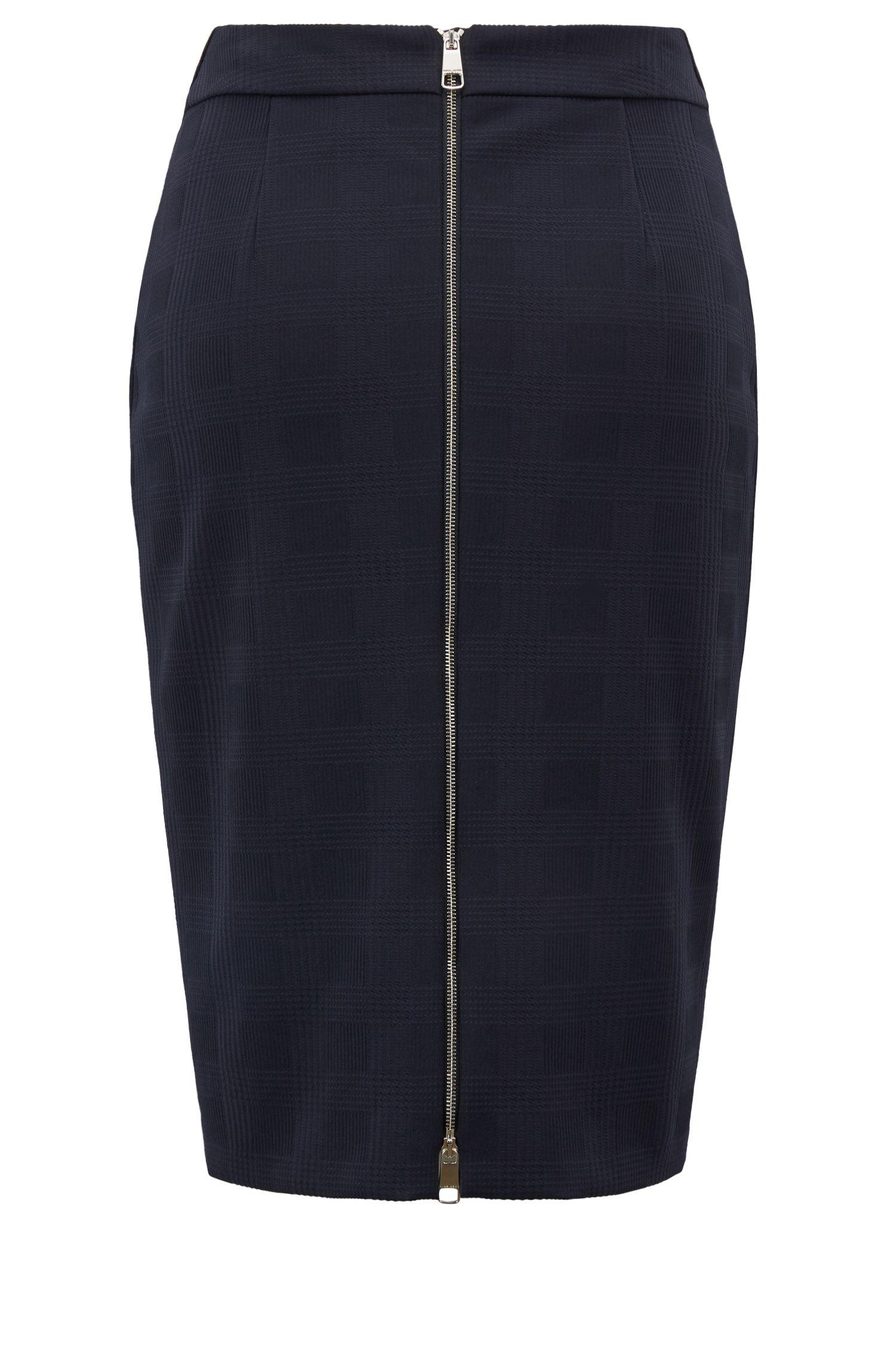 Falda lápiz de punto elástico con cremallera bidireccional trasera, Azul oscuro