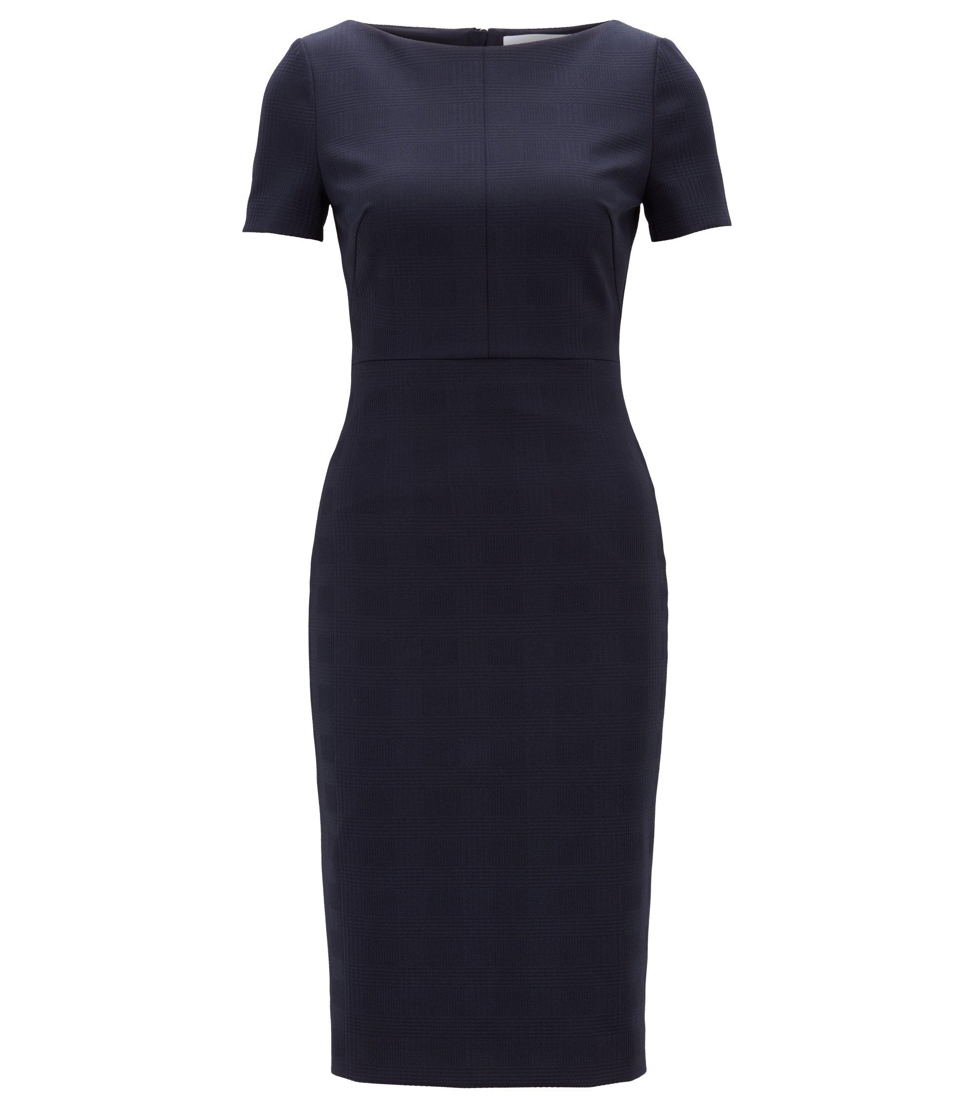 Vestido recto midi en punto elástico con textura, Azul oscuro