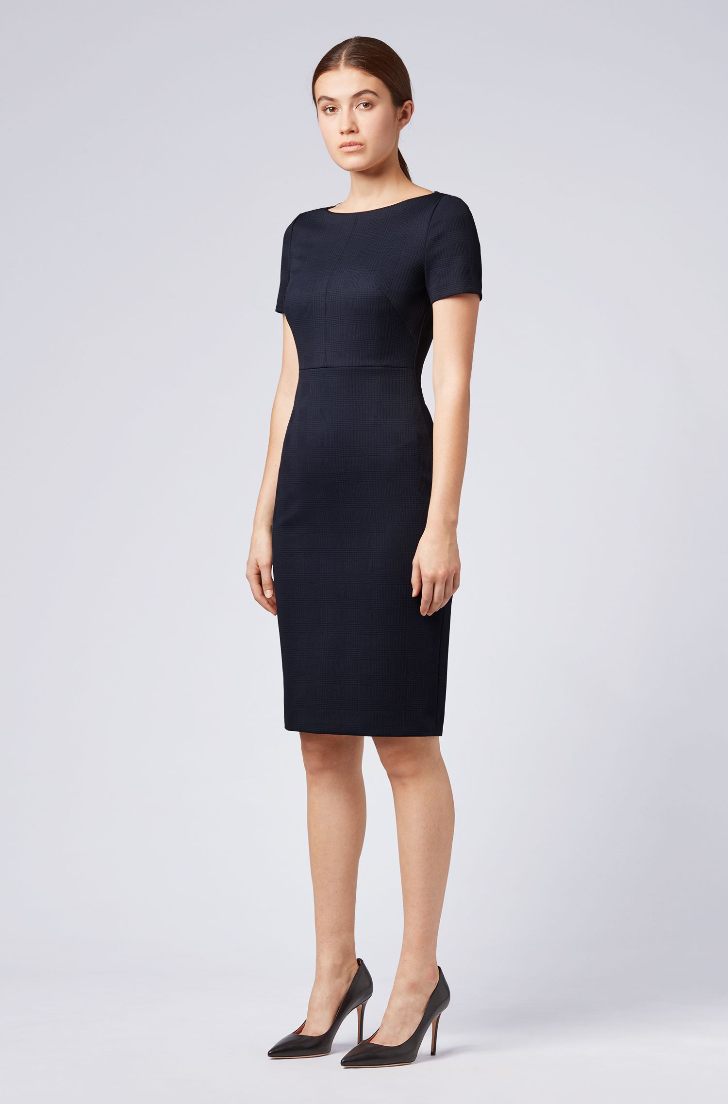 Midi-length shift dress in textured stretch jersey, Dark Blue