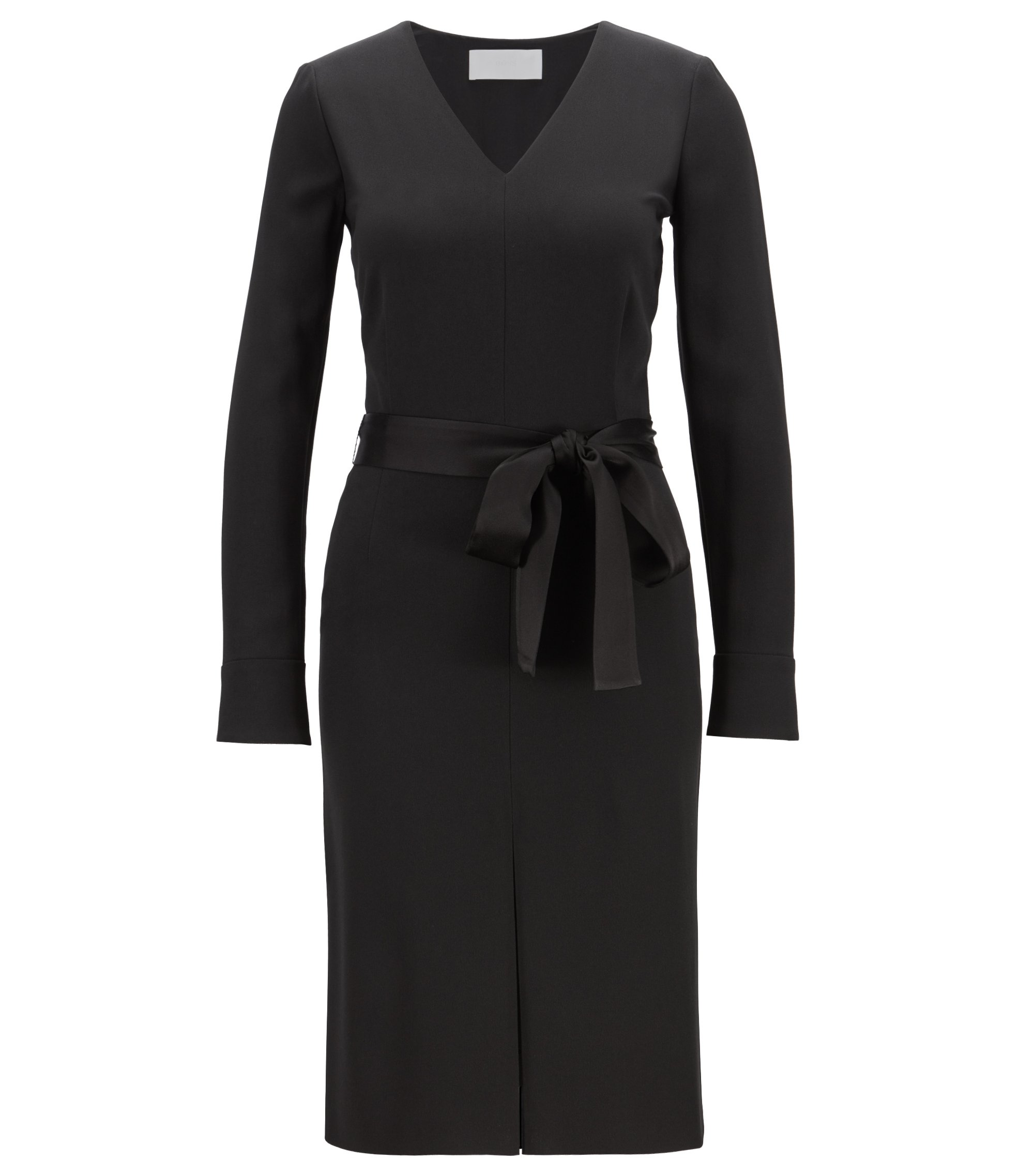 Long-sleeved V-neck business dress in satin-back crepe, Black