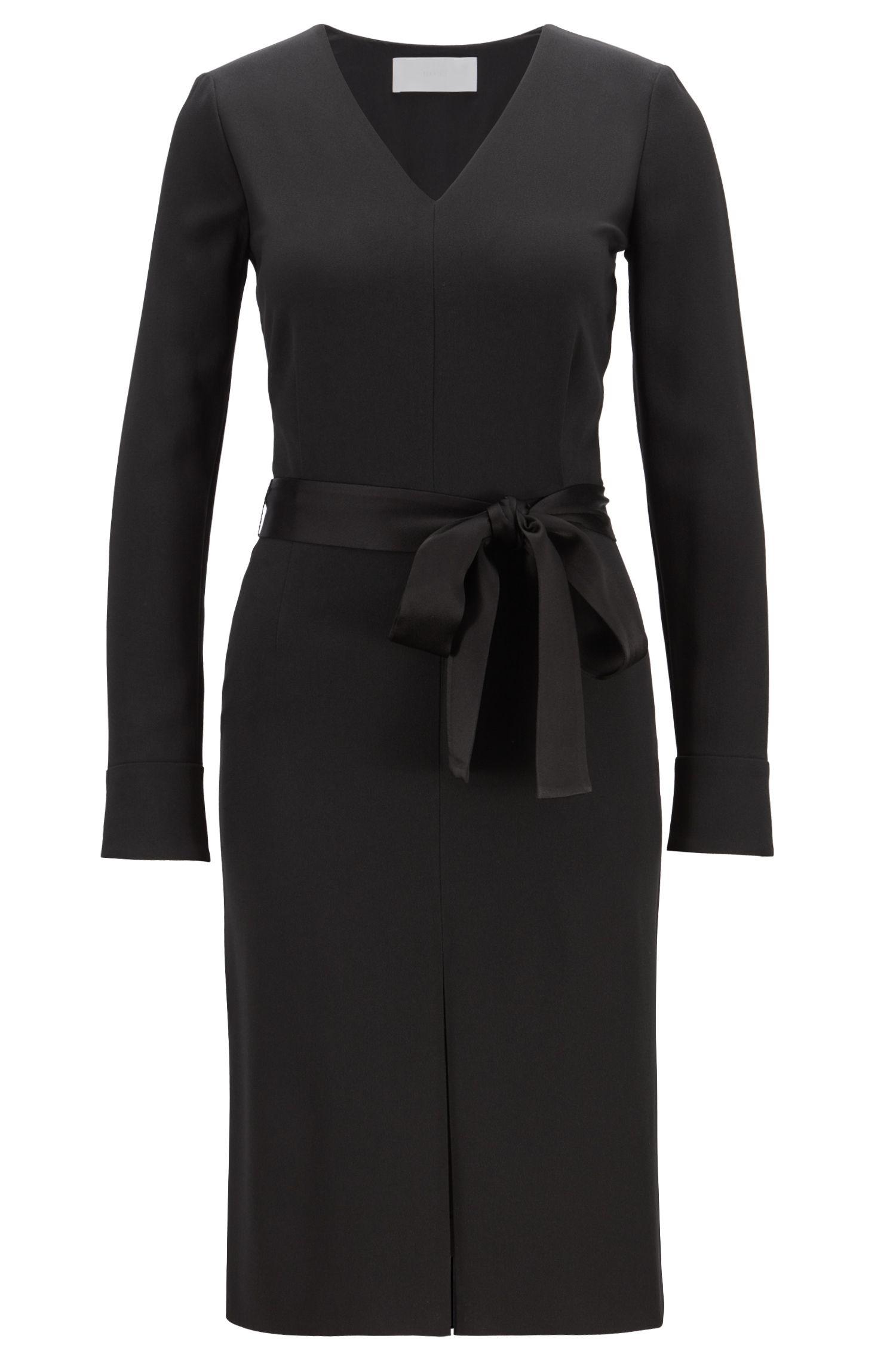 Long-sleeved V-neck business dress in satin-back crepe, Black