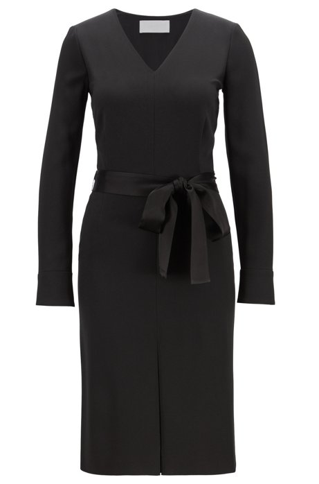 Long-sleeved V-neck dress in satin-back crepe, Black