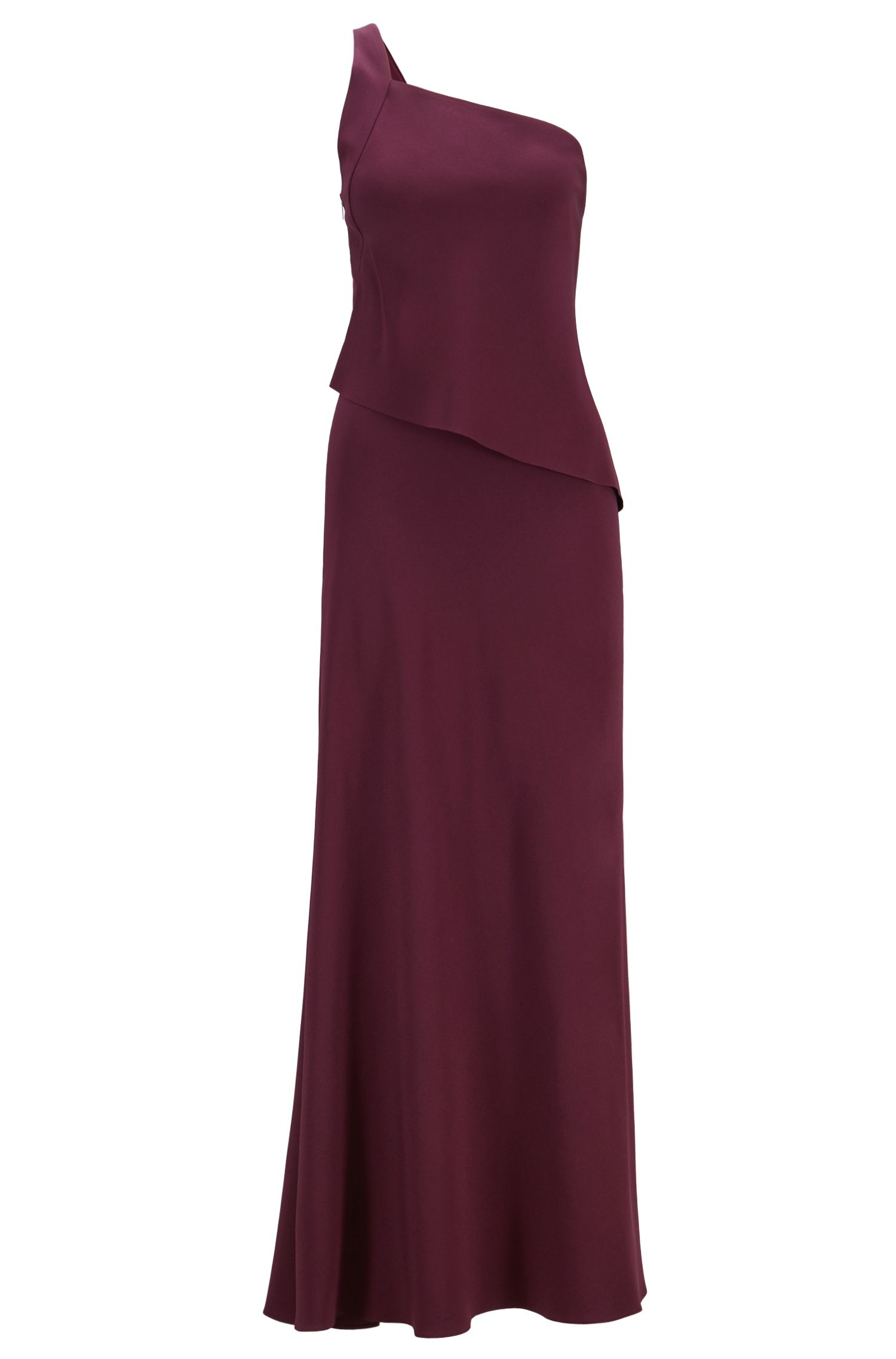 One-shoulder maxi dress in satin-back crepe, Dark pink