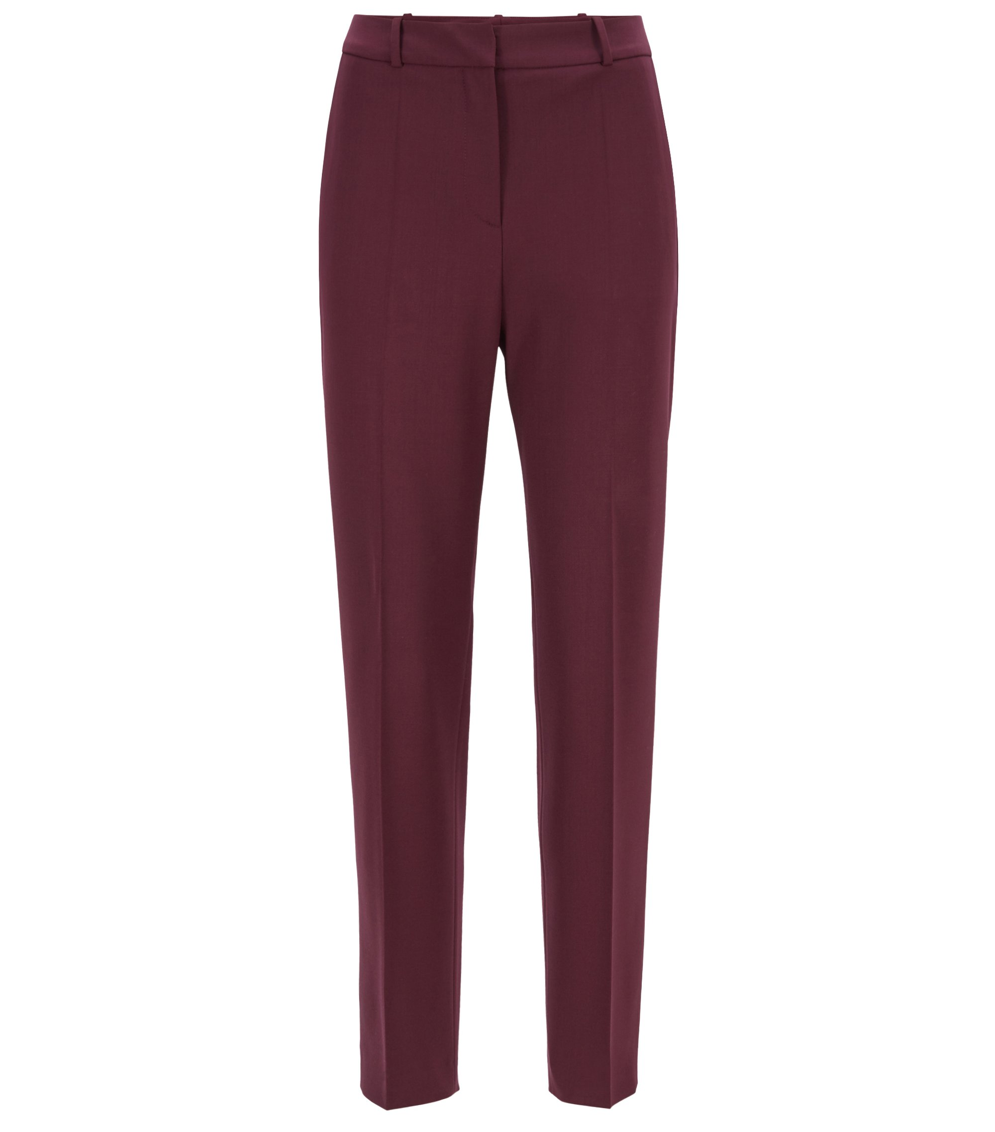 High-waisted cropped trousers in Italian stretch virgin wool, Dark pink