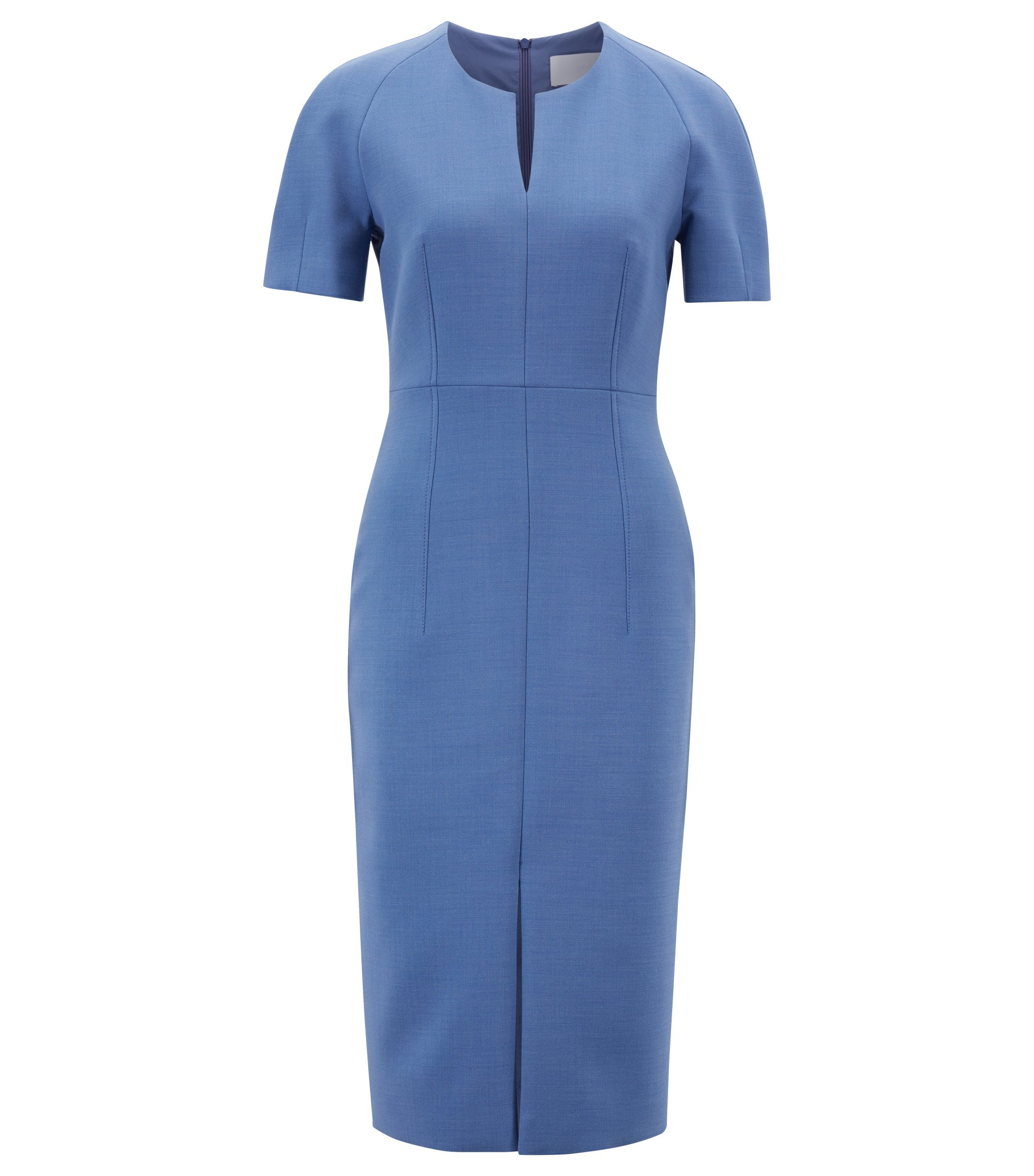Contoured business dress in woven Italian fabric, Blauw