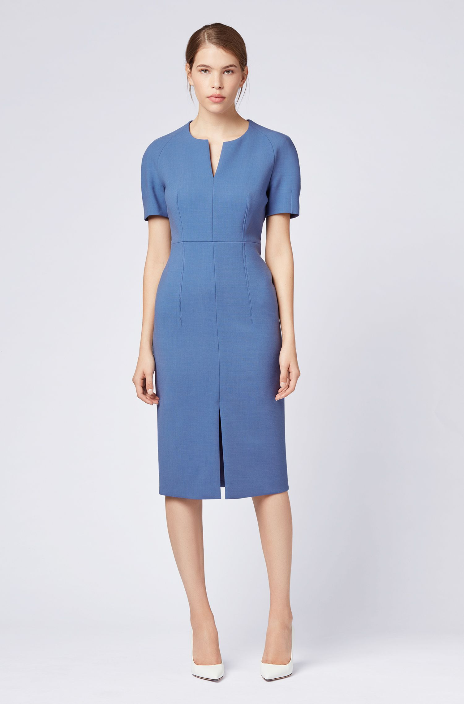 Contoured business dress in woven Italian fabric, Blue