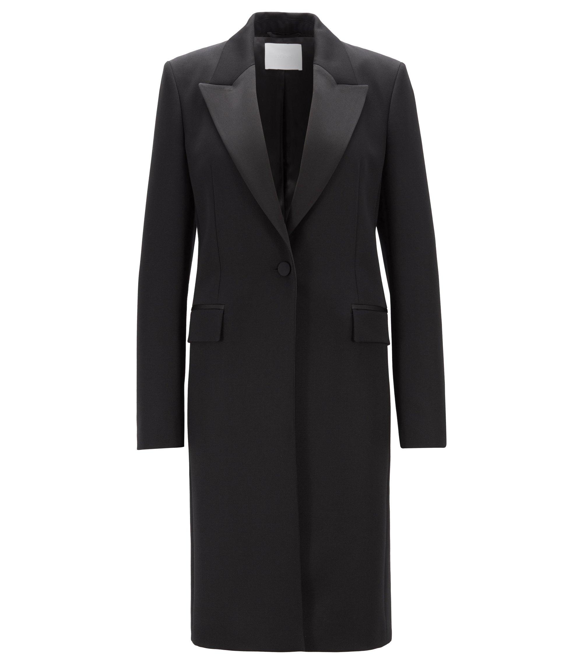 Regular-Fit Mantel aus italienischer Schurwolle im Smoking-Stil, Schwarz