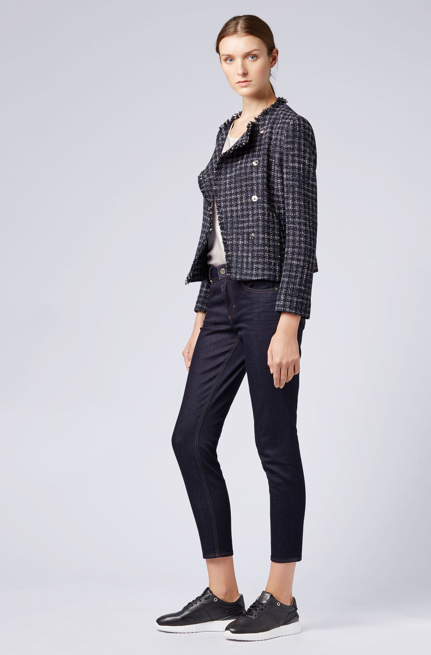 Relaxed-fit Italian tweed jacket with frayed edges, Patterned