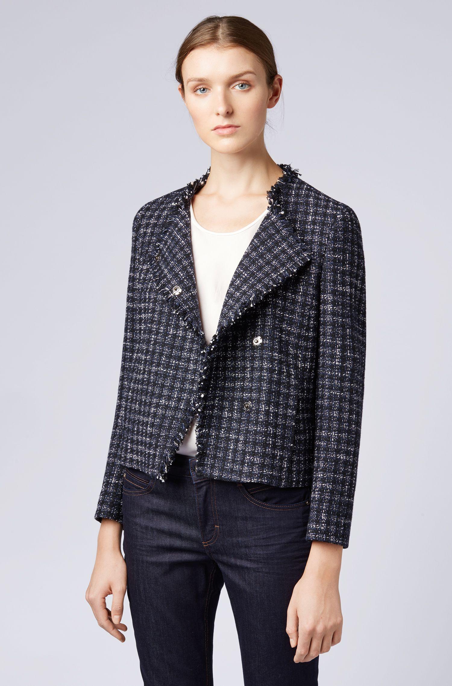 Relaxed-Fit Blazer aus italienischem Tweed mit ausgefransten Säumen, Gemustert