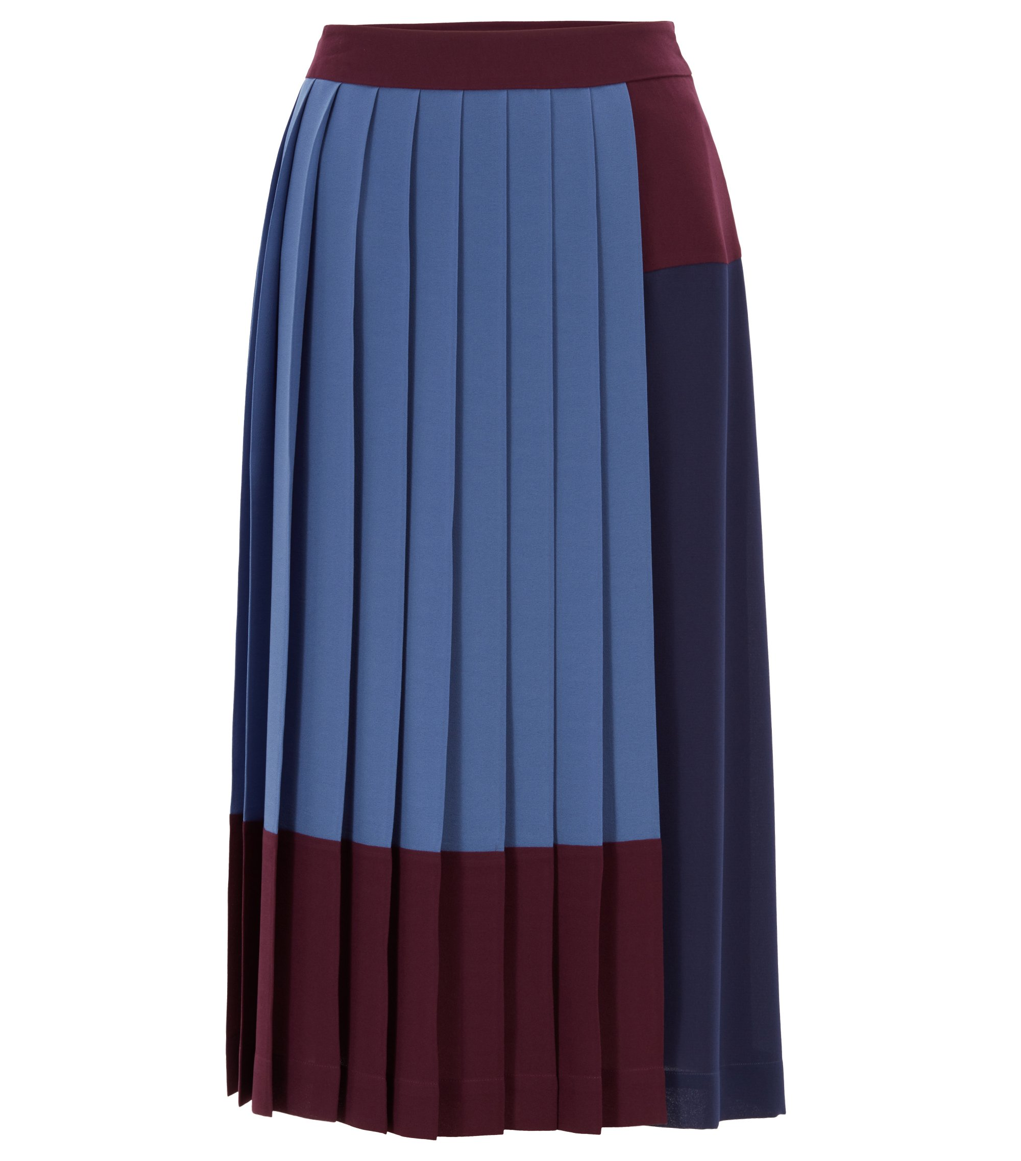 A-line skirt in stretch crepe with colourblock design, Dunkelrosa