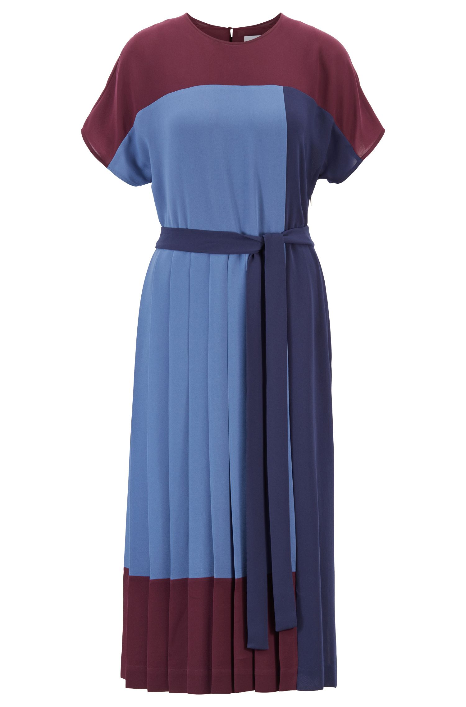 Pleated colour-block midi dress in crepe, Patterned